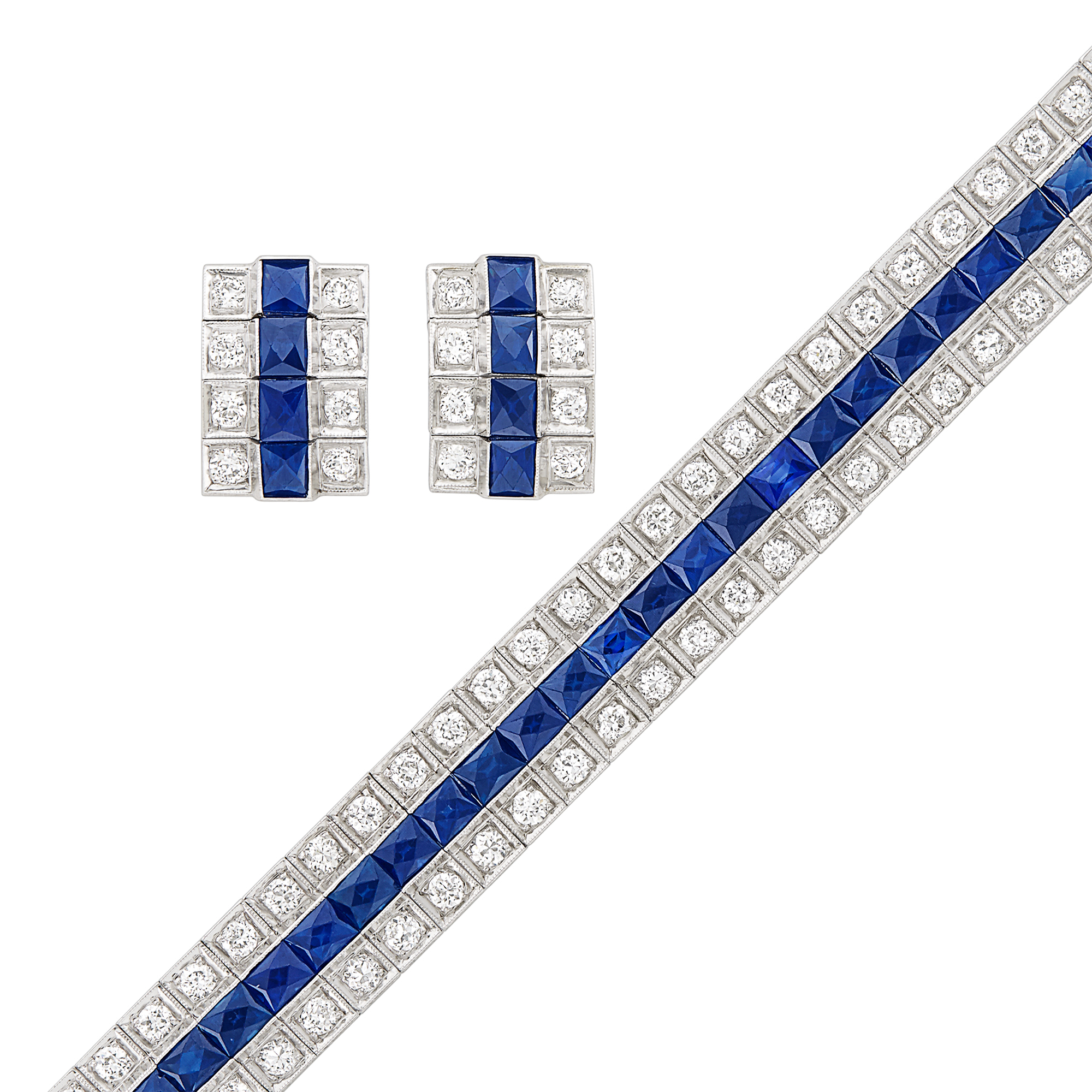 Lot image - Platinum, Diamond and Sapphire Bracelet and Pair of Earclips
