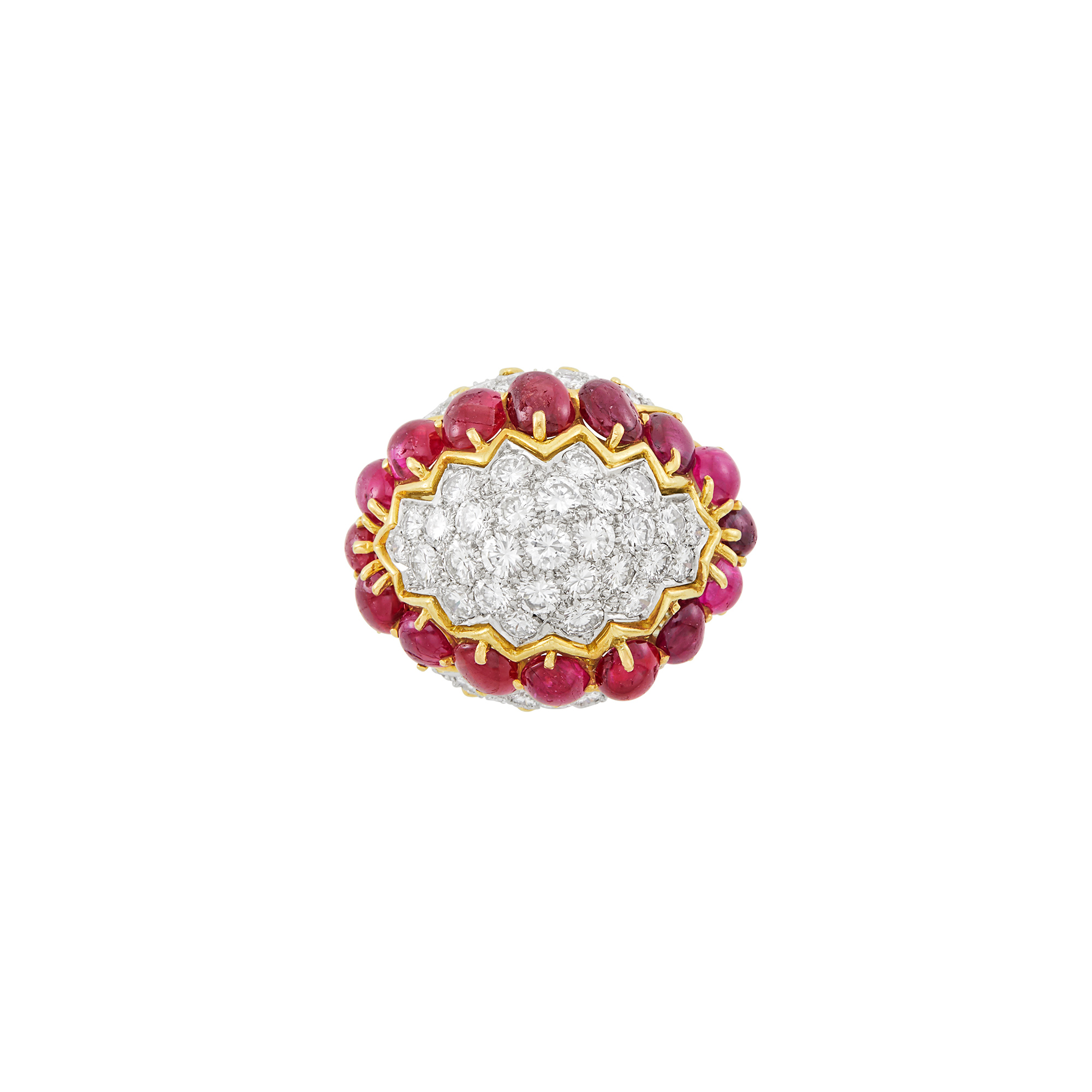 Lot image - Gold, Platinum, Diamond and Cabochon Ruby Dome Ring