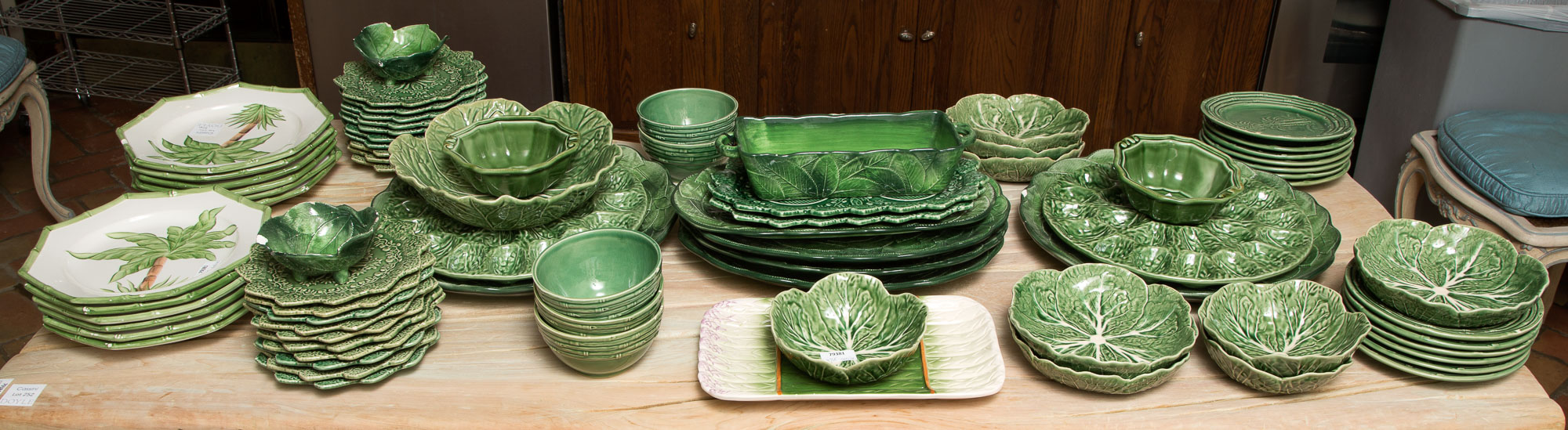 Lot image - Miscellaneous Group of Italian and Portuguese Green Glazed and Hand-Painted Earthenware Table Articles