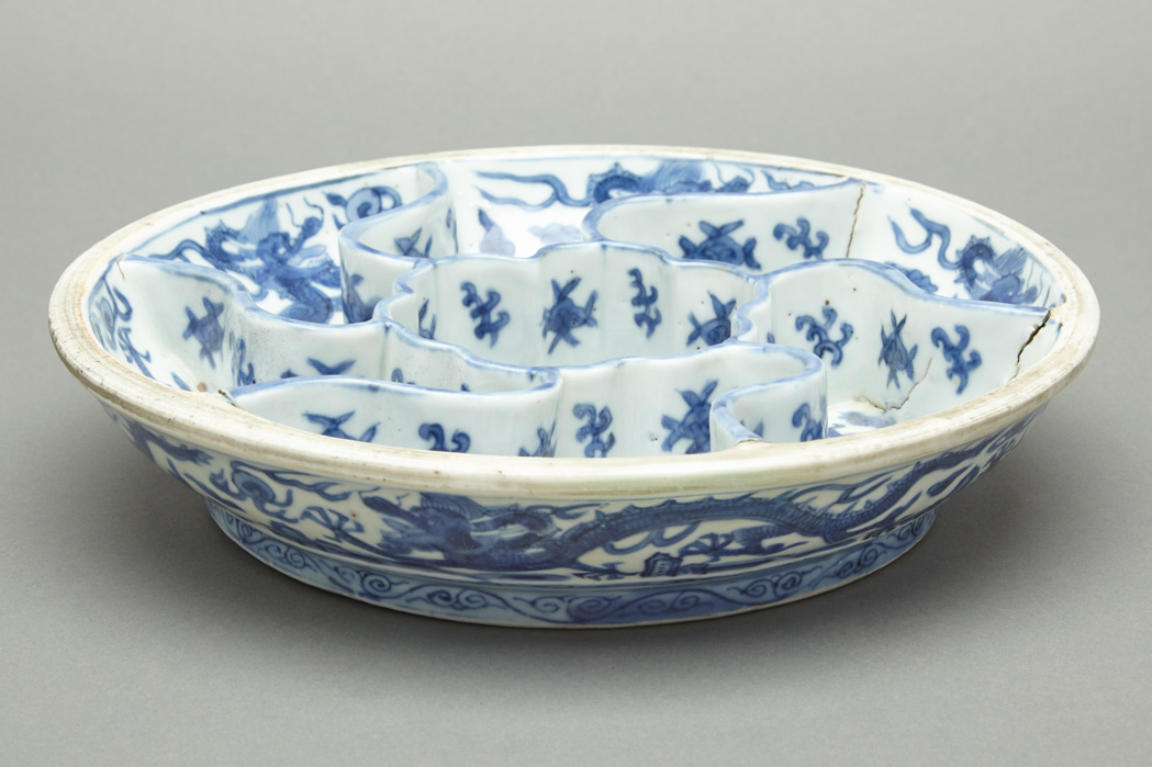 Lot image - Chinese Blue and White Glazed Porcelain Sweetmeat Dish