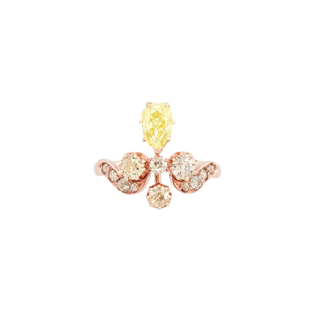 Lot image - Antique Rose Gold, Fancy Light Yellow Diamond and Diamond Ring