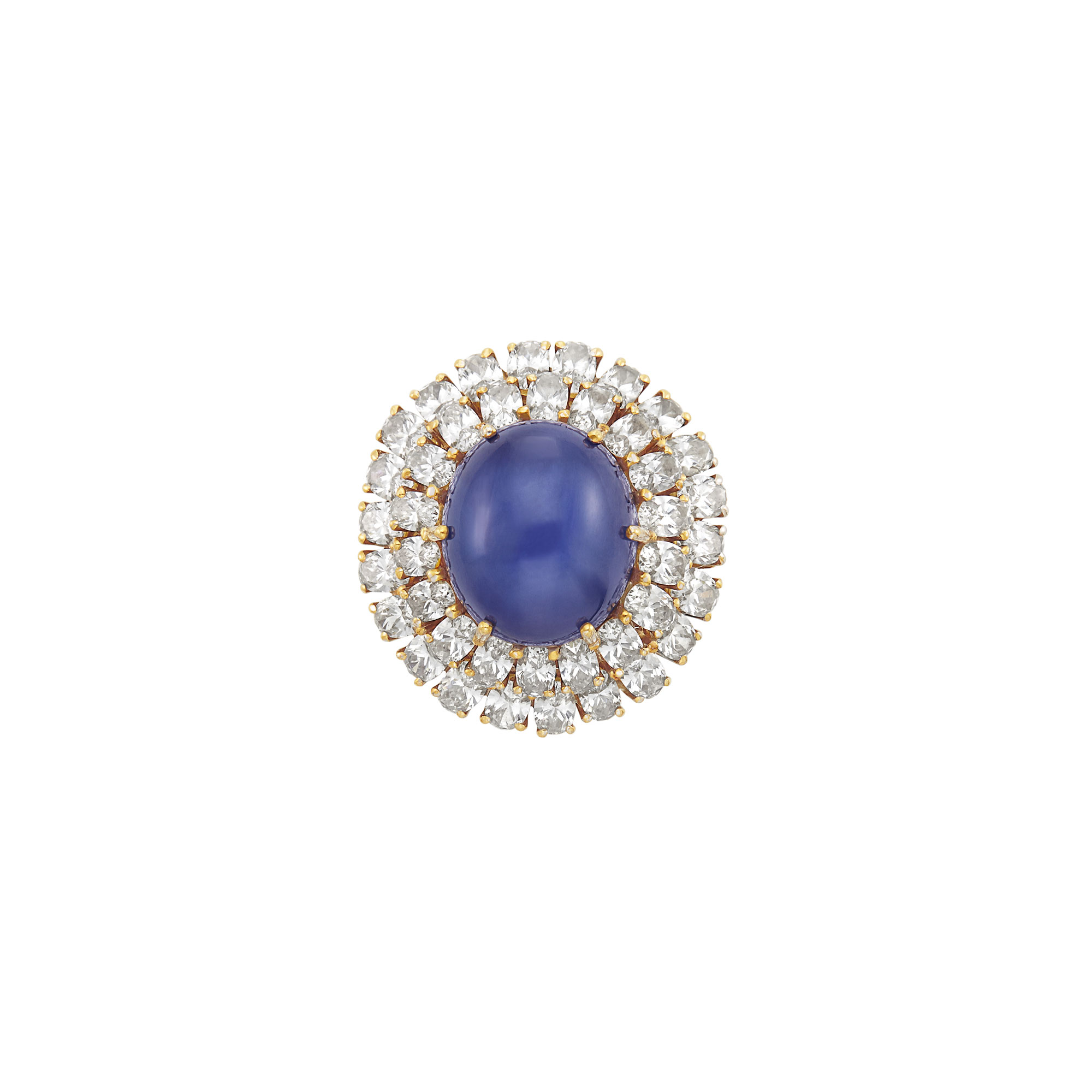 Lot image - Gold-Plated White Gold, Star Sapphire and Diamond Ring