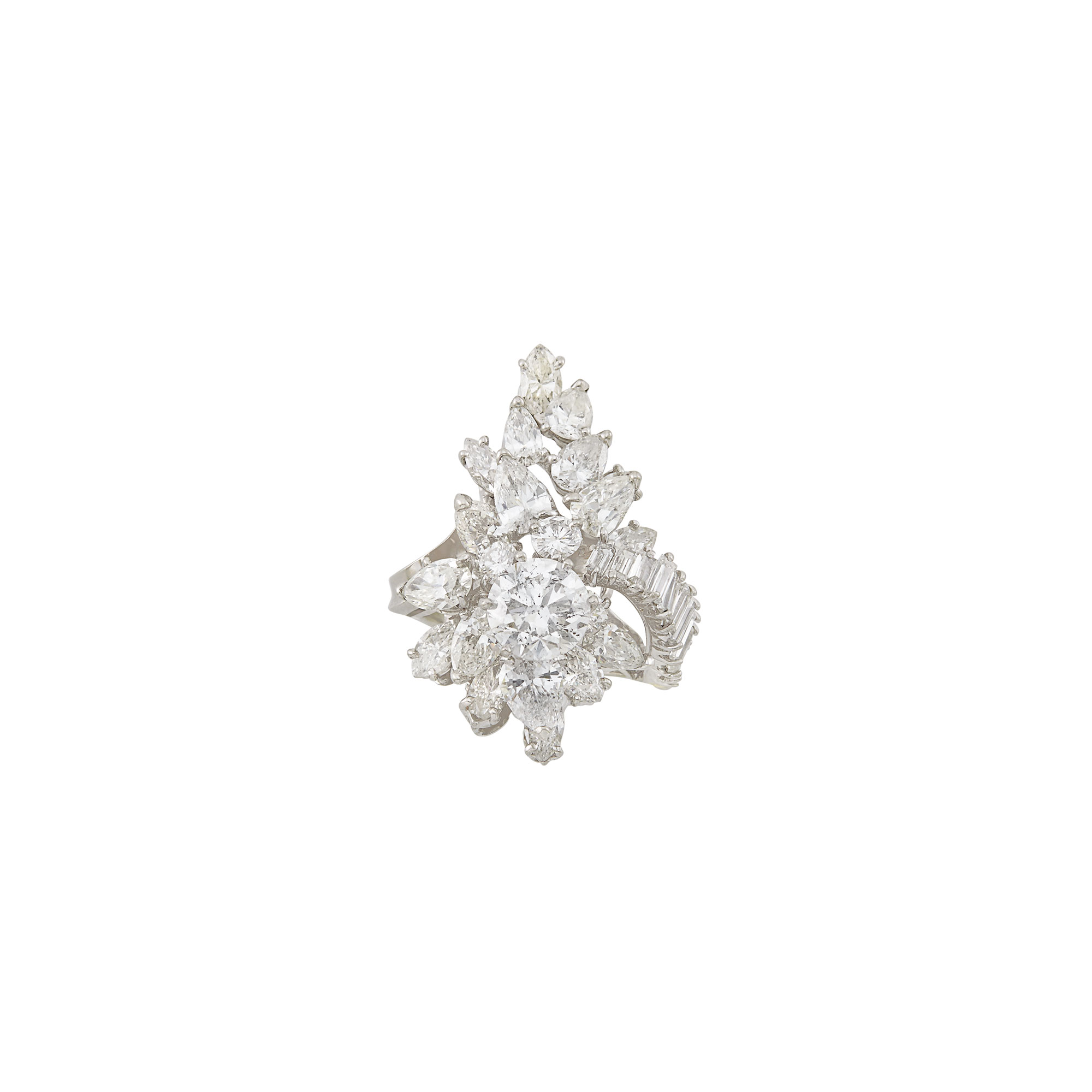 Lot image - White Gold and Diamond Cluster Ring