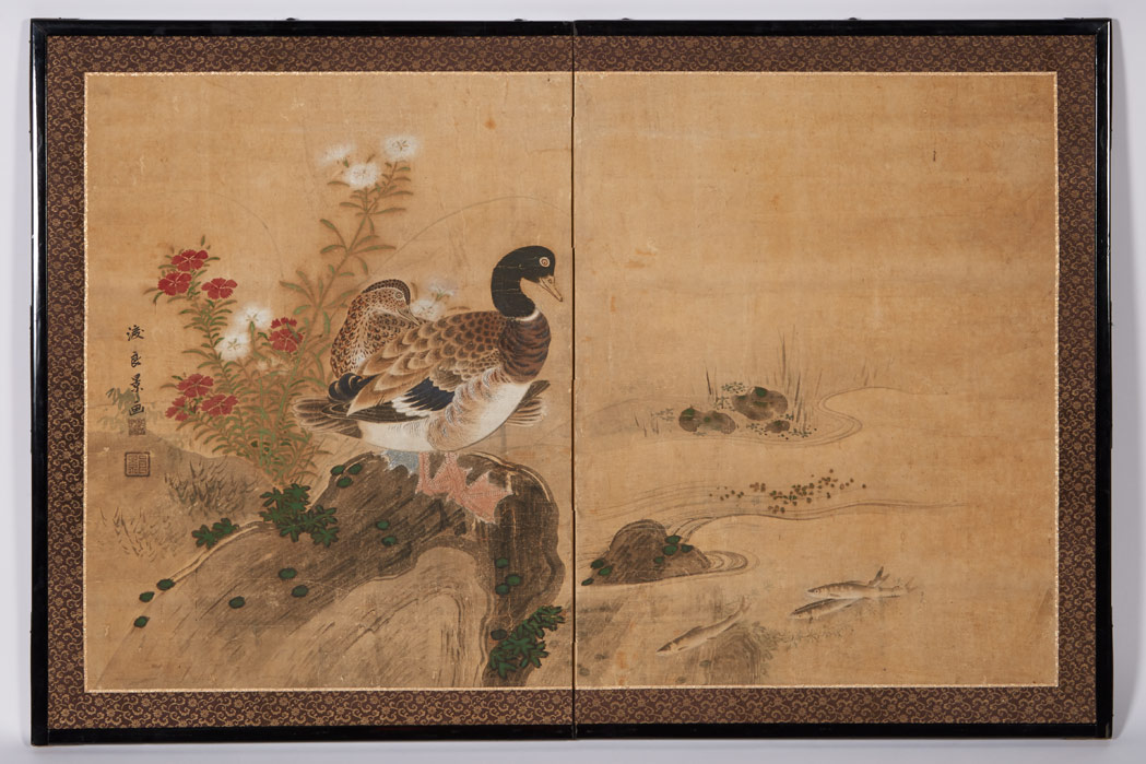 Lot image - Japanese Rimpa School Two-Panel Screen