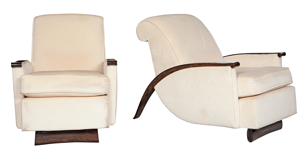 Lot image - Pair of Art Deco Style Upholstered Macassar Lounge Chairs