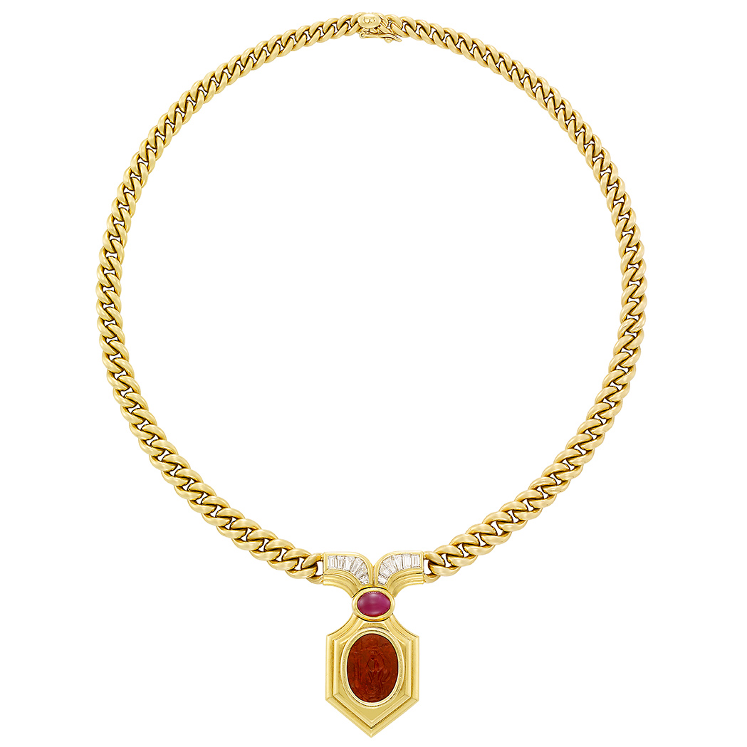 Lot image - Gold, Diamond, Cabochon Ruby and Hardstone Intaglio Necklace, Bulgari