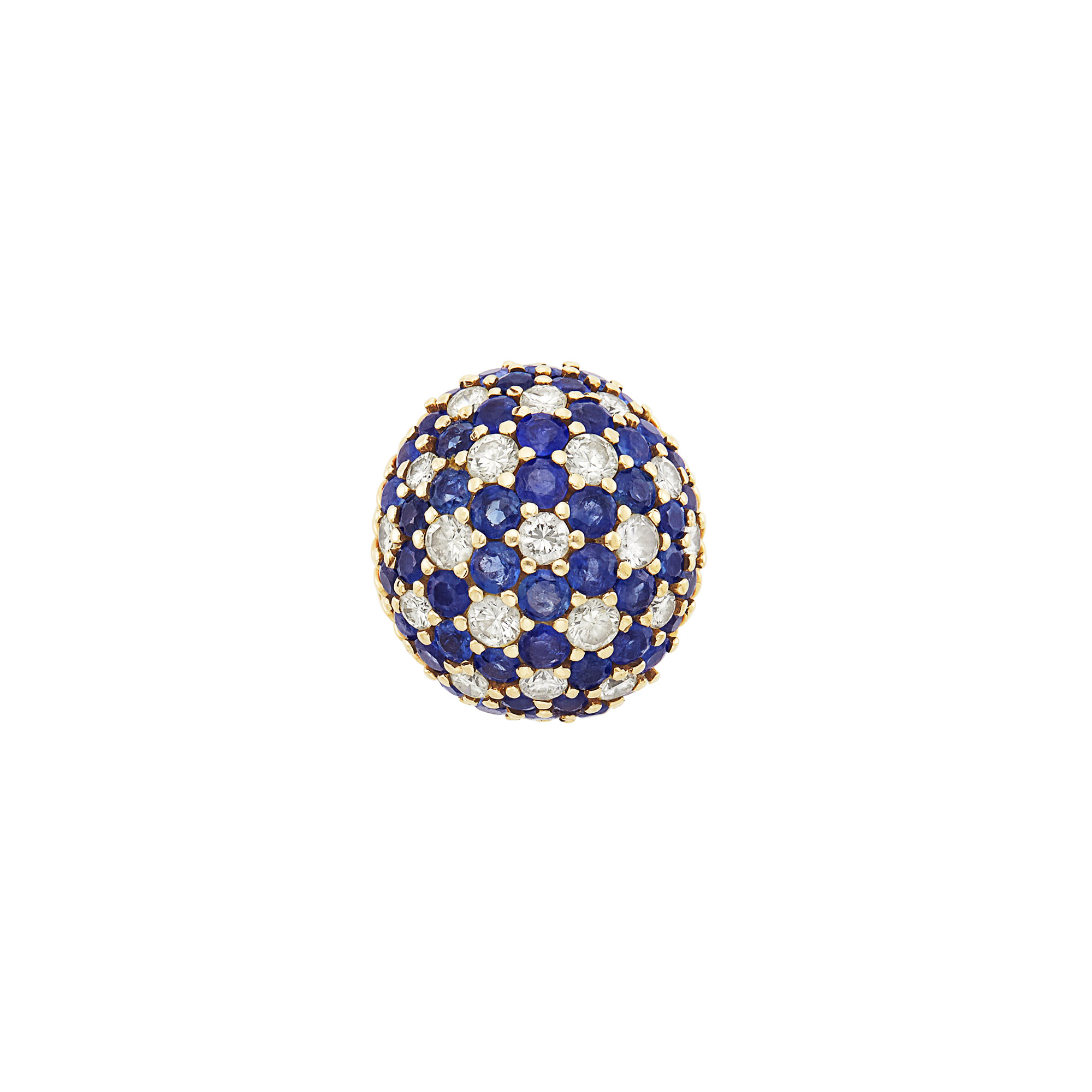 Lot image - Gold, Diamond and Sapphire Dome Ring