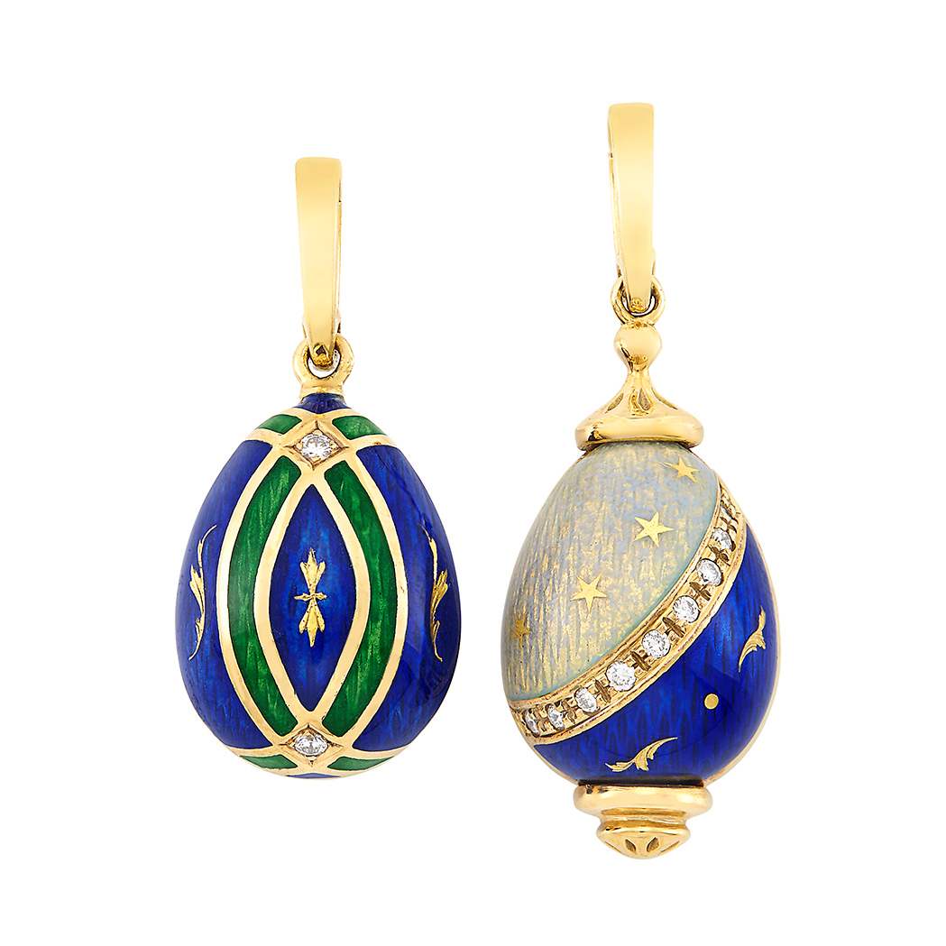 Lot image - Two Gold, Enamel and Diamond Pendants, Contemporary Fabergé
