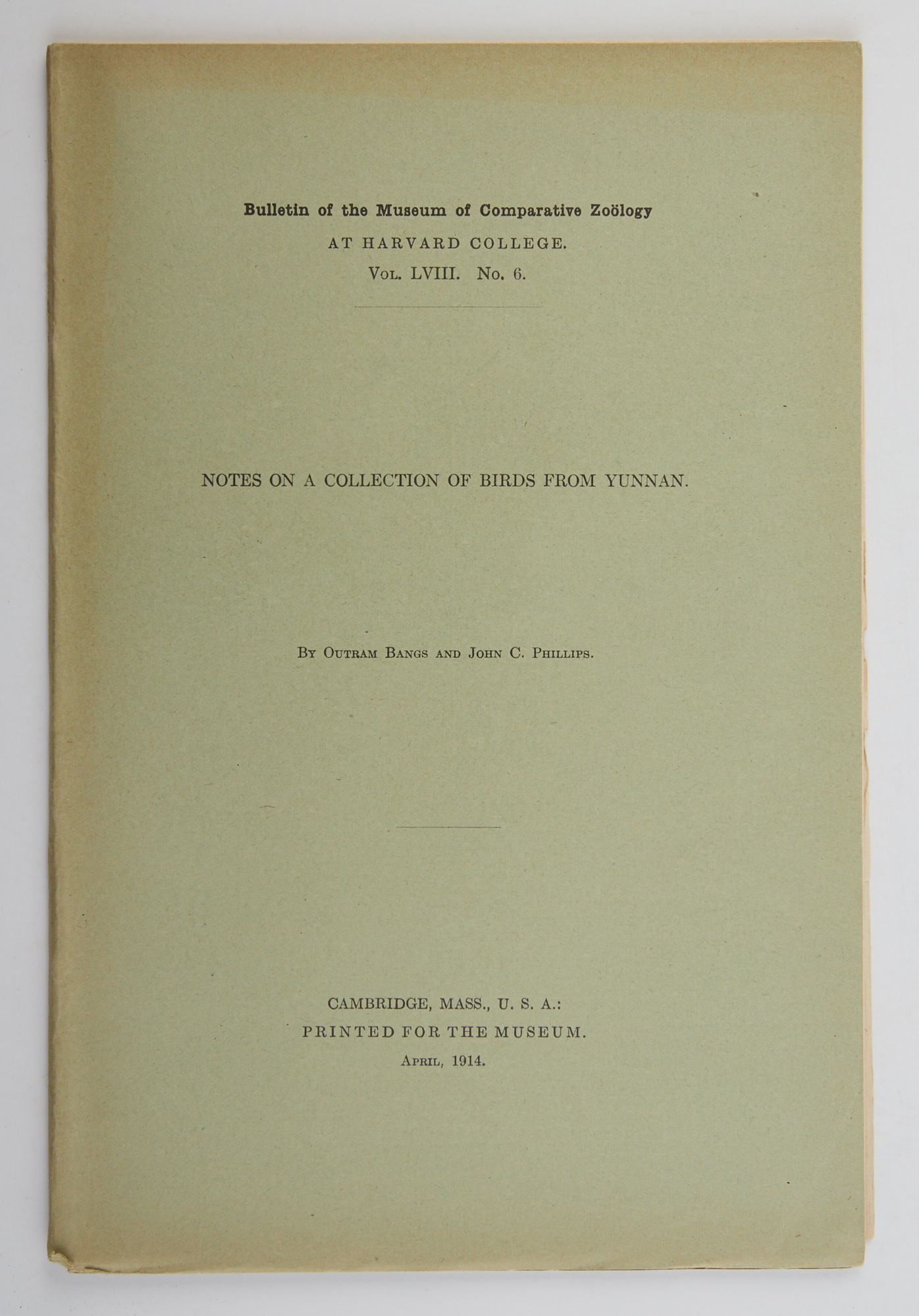 Lot image - BANGS, OUTRAM and PHILLIPS, JOHN C.  Notes on a Collection of Birds from Yunnan.