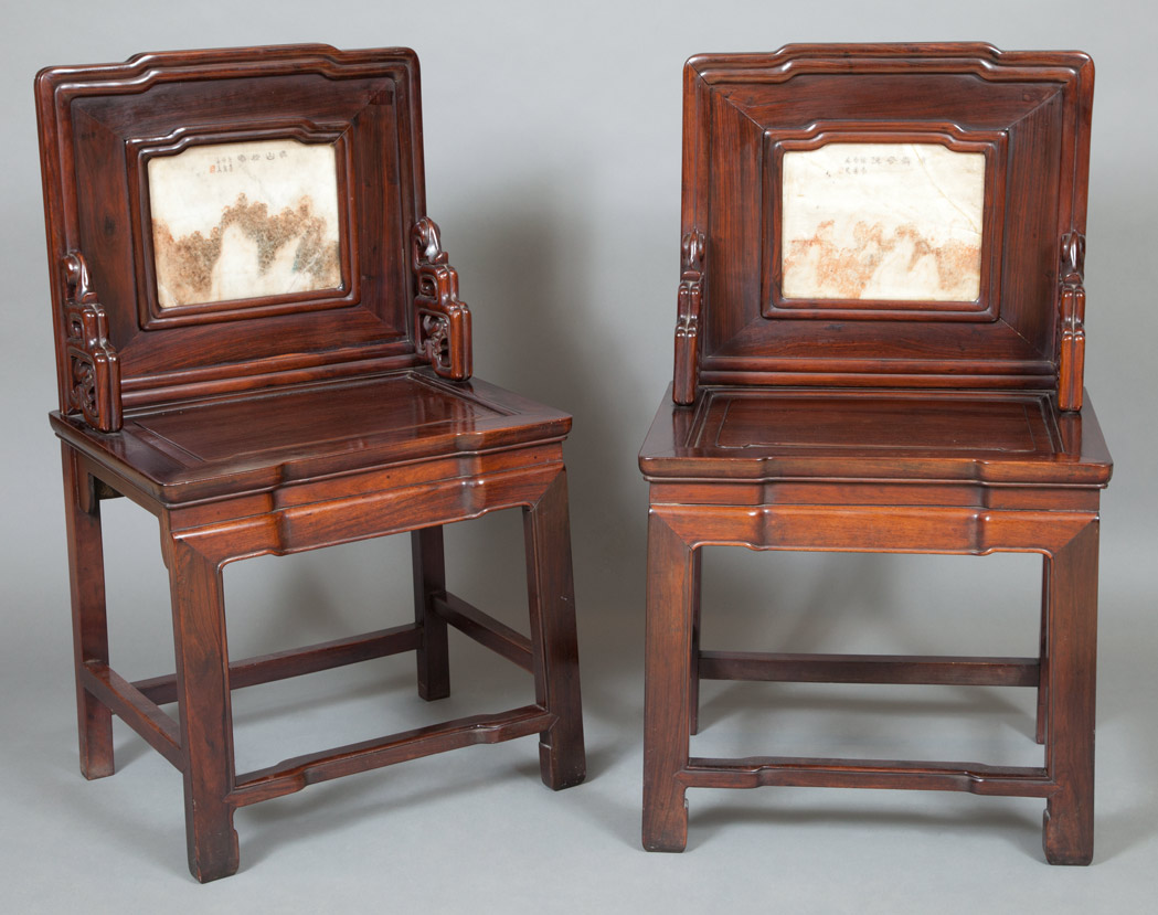 Lot image - Pair of Chinese Marble Inlaid Hardwood Side Chairs