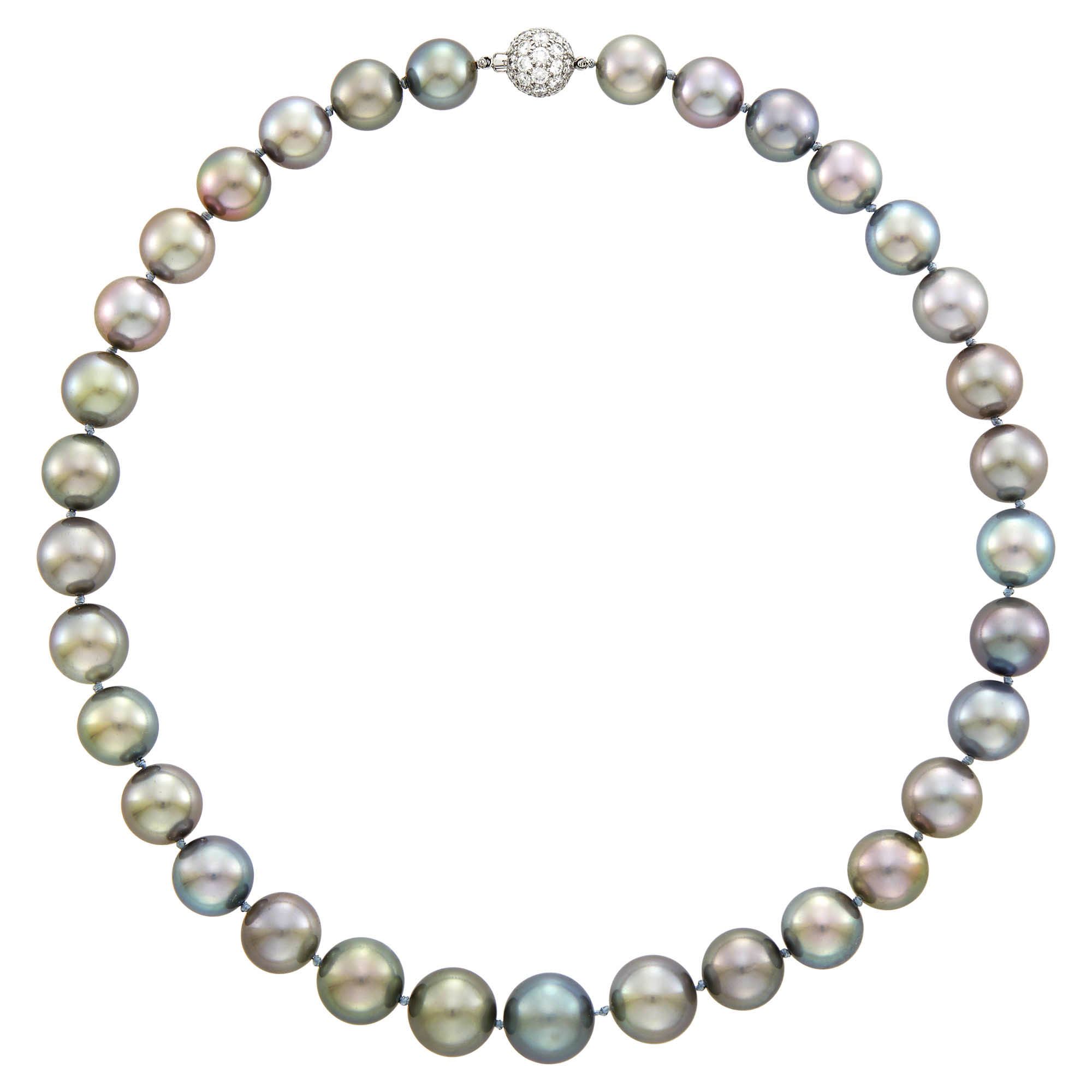 Lot image - Tiffany & Co. Tahitian Gray Cultured Pearl Necklace with Platinum and Diamond Ball Clasp
