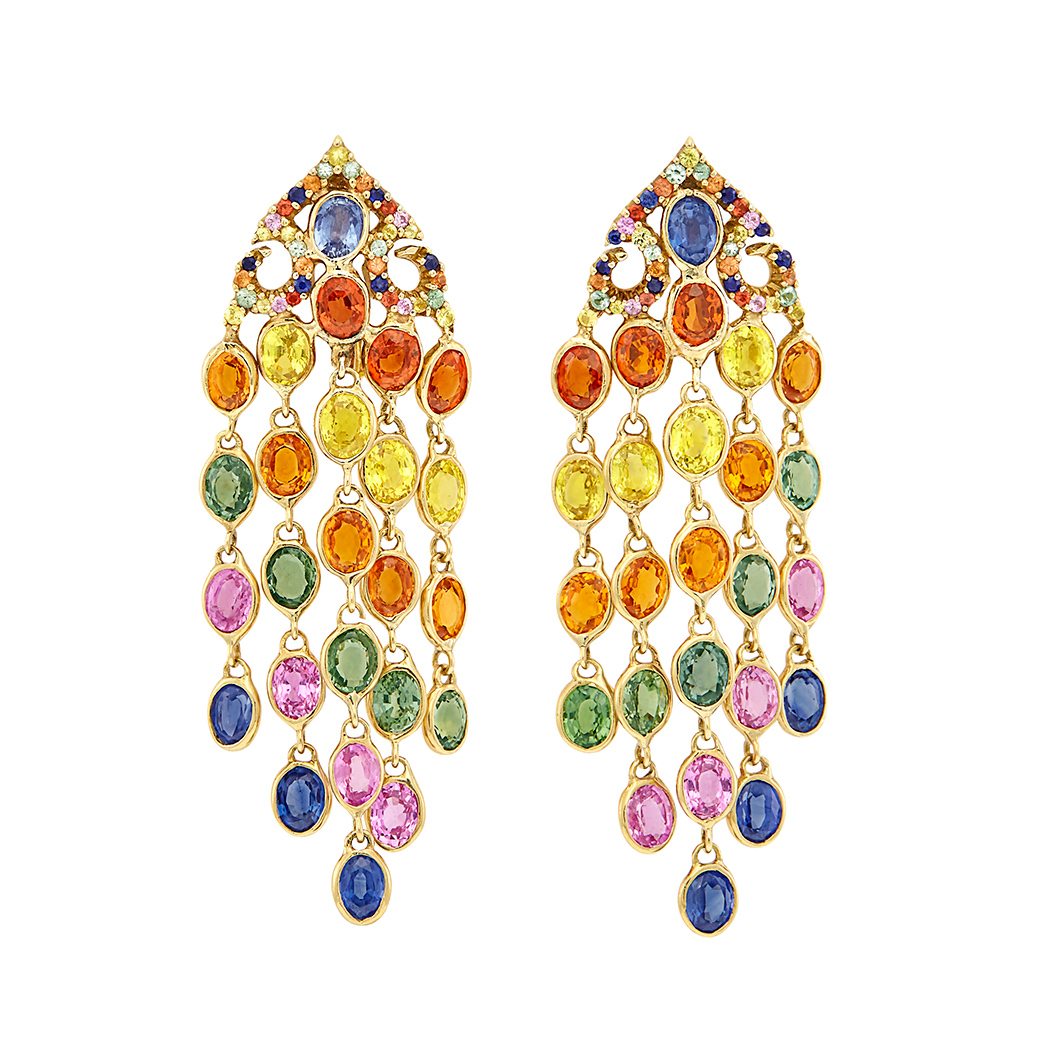 Lot image - Pair of Gold and Multicolored 'Mosaic' Sapphire Fringe Earclips, by Piranesi