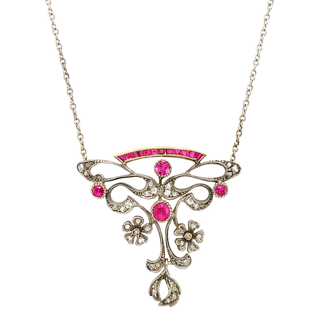 Lot image - Belle Epoque Silver-Topped Gold, Ruby, Synthetic Ruby and Diamond Pendant-Brooch with Chain