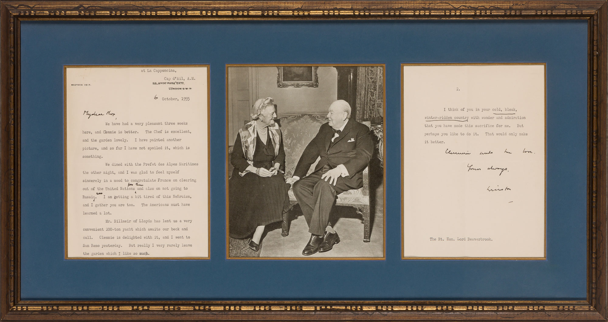 Lot image - CHURCHILL, WINSTON, Sir  Typed Letter Signed.