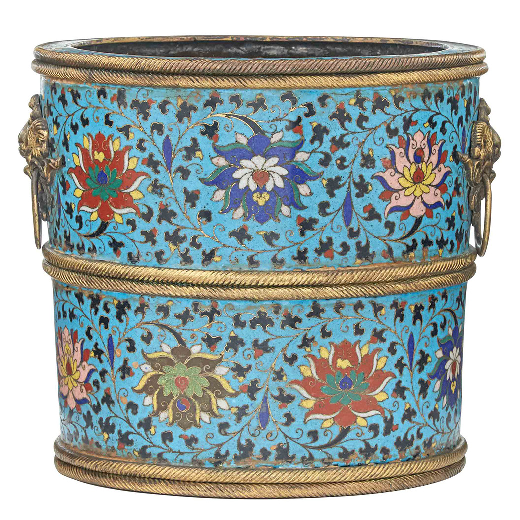 Lot image - Chinese Cloisonné Enamel Planter