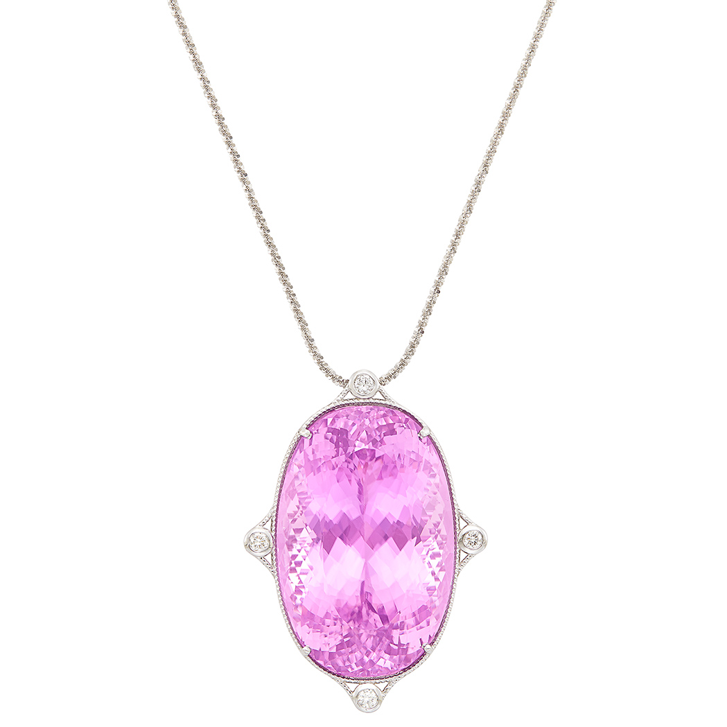 Lot image - White Gold, Kunzite and Diamond Pendant with Chain Necklace
