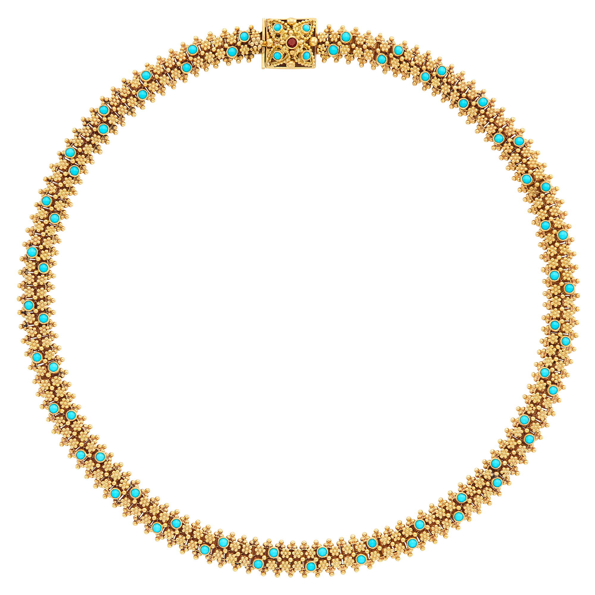 Lot image - Gold, Turquoise and Garnet Necklace