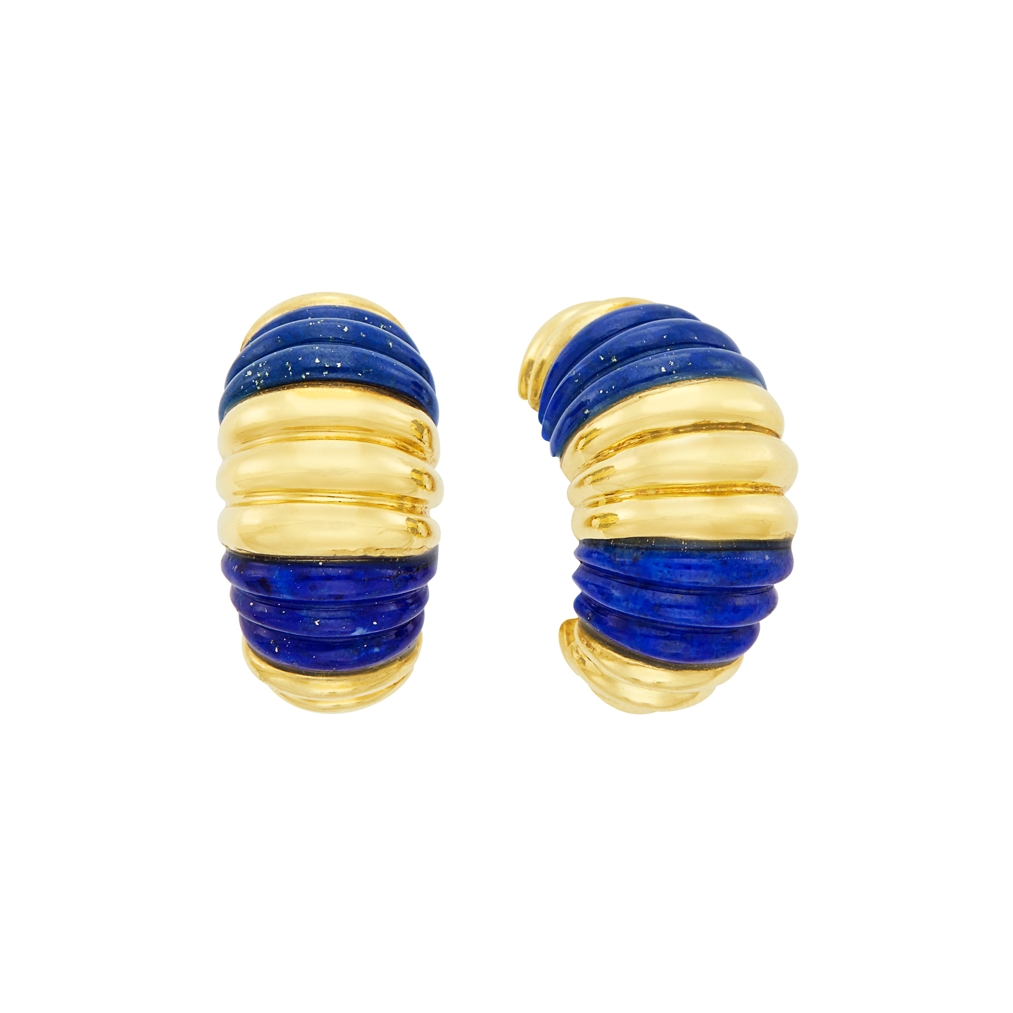 Lot image - Pair of Gold and Carved Lapis Half-Hoop Earclips