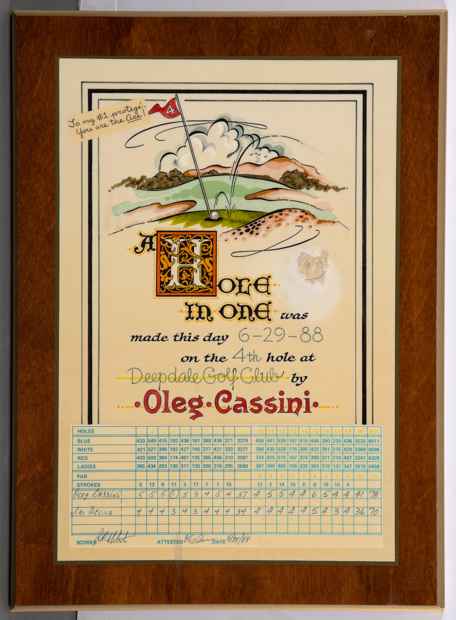Lot image - [GOLF]  Two items related to Oleg Cassinis hole-in-one at Deepdale Golf Club, 1988.