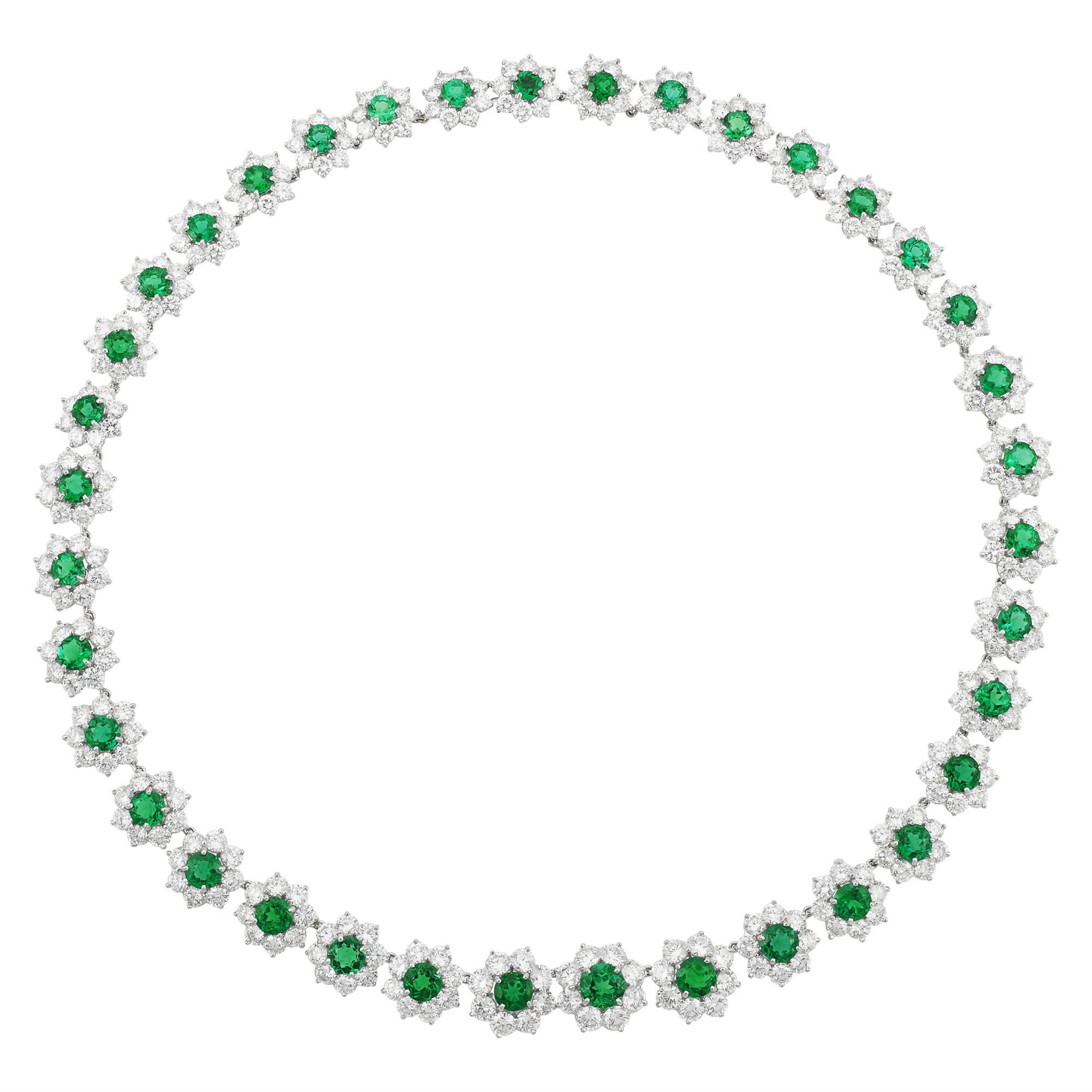 Lot image - Platinum, Emerald and Diamond Necklace