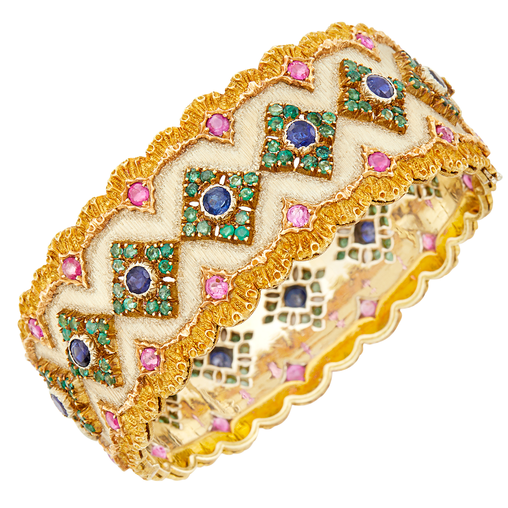 Lot image - Buccellati Two-Color Gold and Gem-Set Cuff Bangle Bracelet