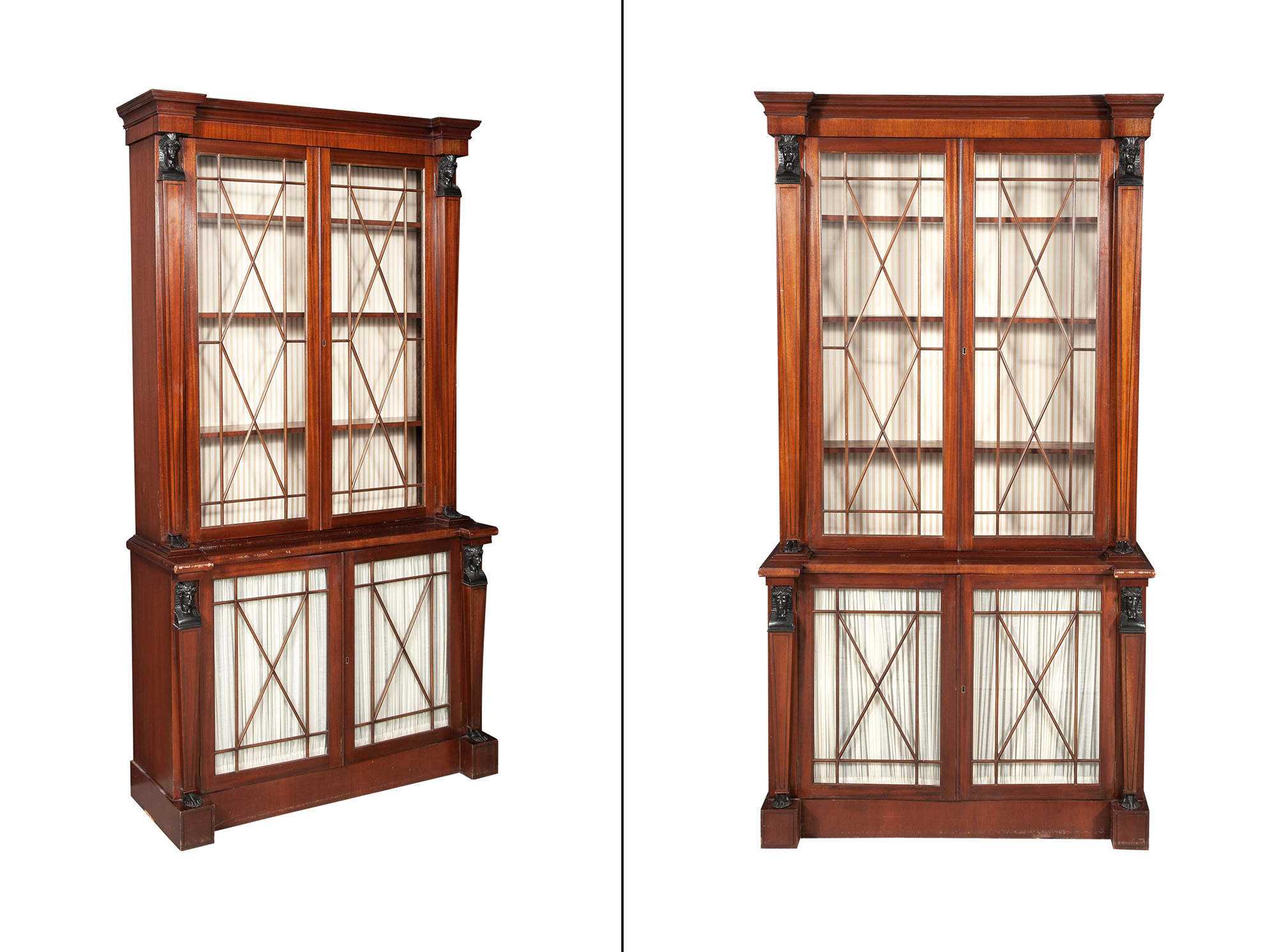 Lot image - Pair of Regency Style Mahogany and Part-Ebonized Bookcases