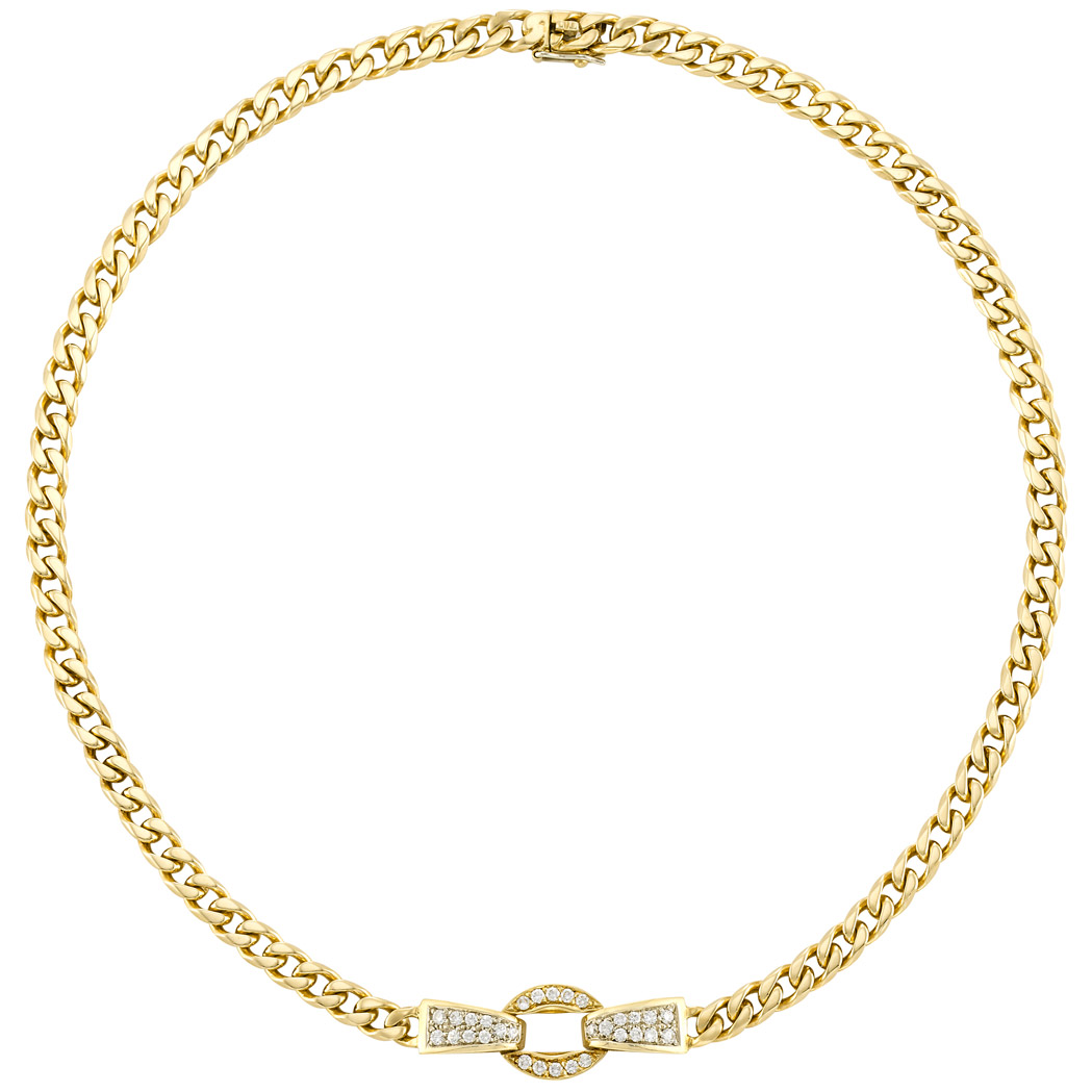 Lot image - Two-Color Gold and Diamond Necklace, Cartier