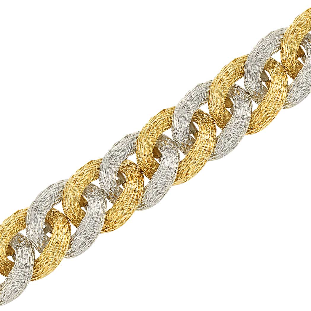 Lot image - Two-Color Textured Gold Bracelet, France