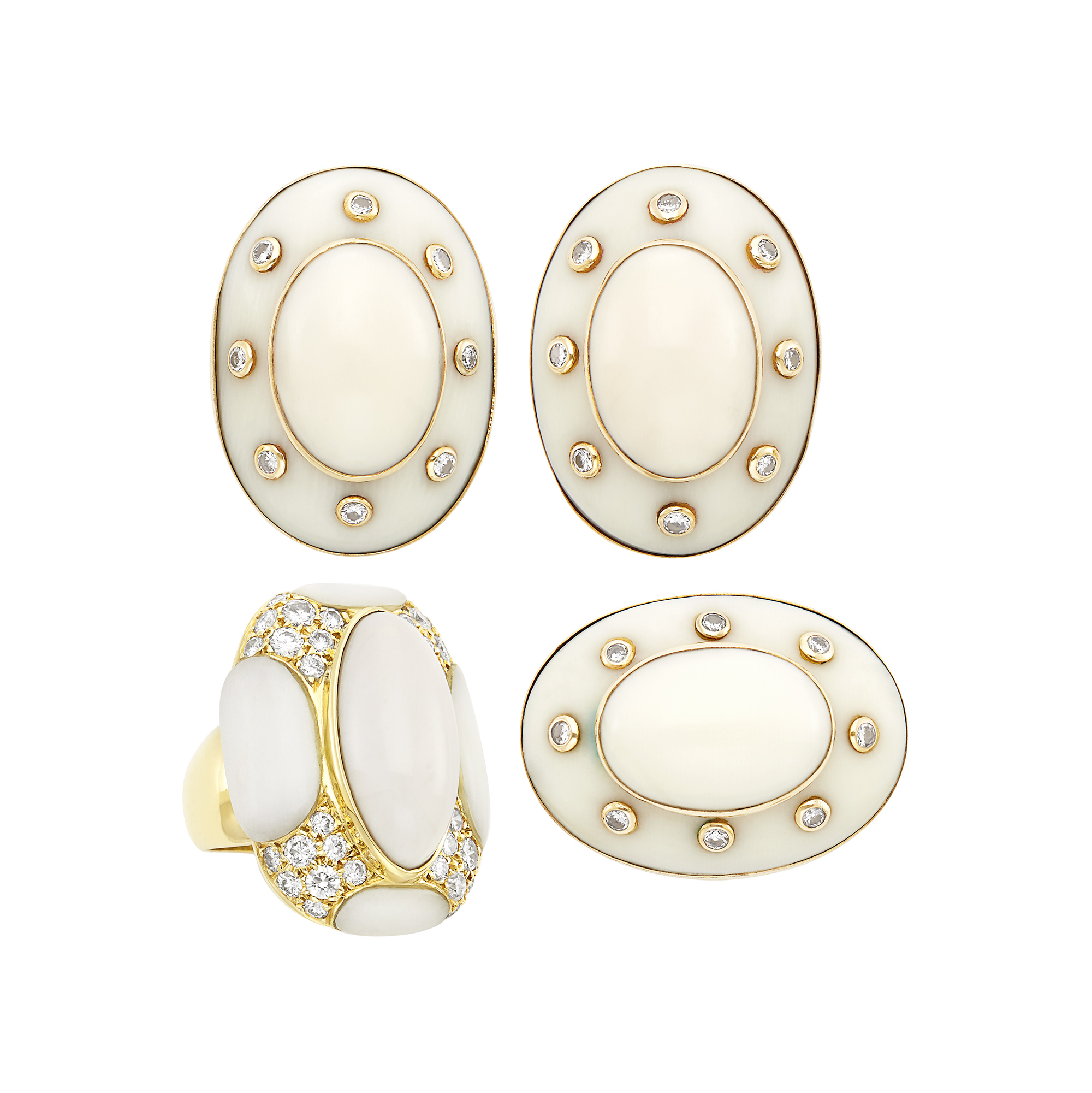 Lot image - Pair of Gold, White Coral and Diamond Earclips, Ring and Brooch