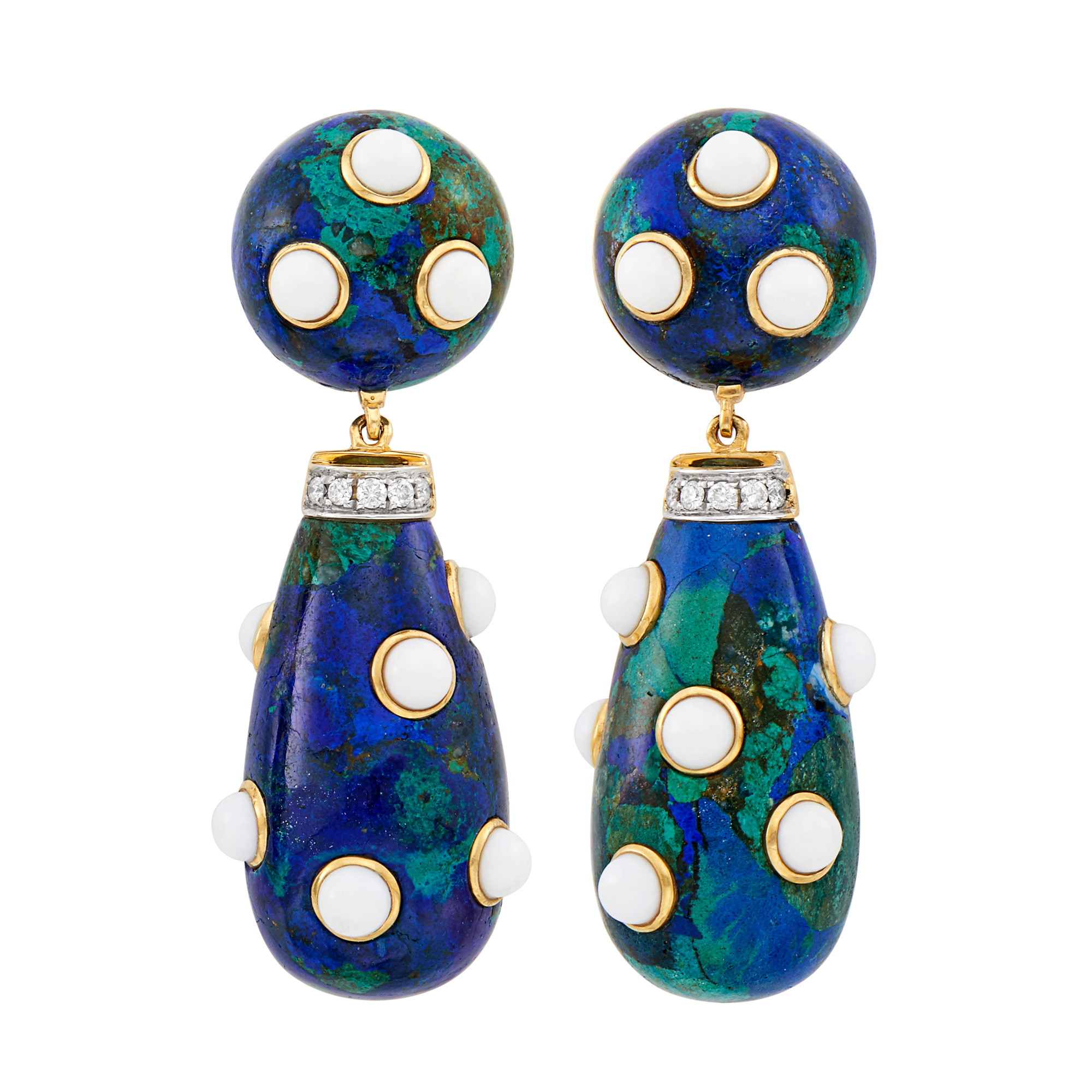 Lot image - Pair of Gold, Azurmalachite, White Agate and Diamond Pendant-Earclips