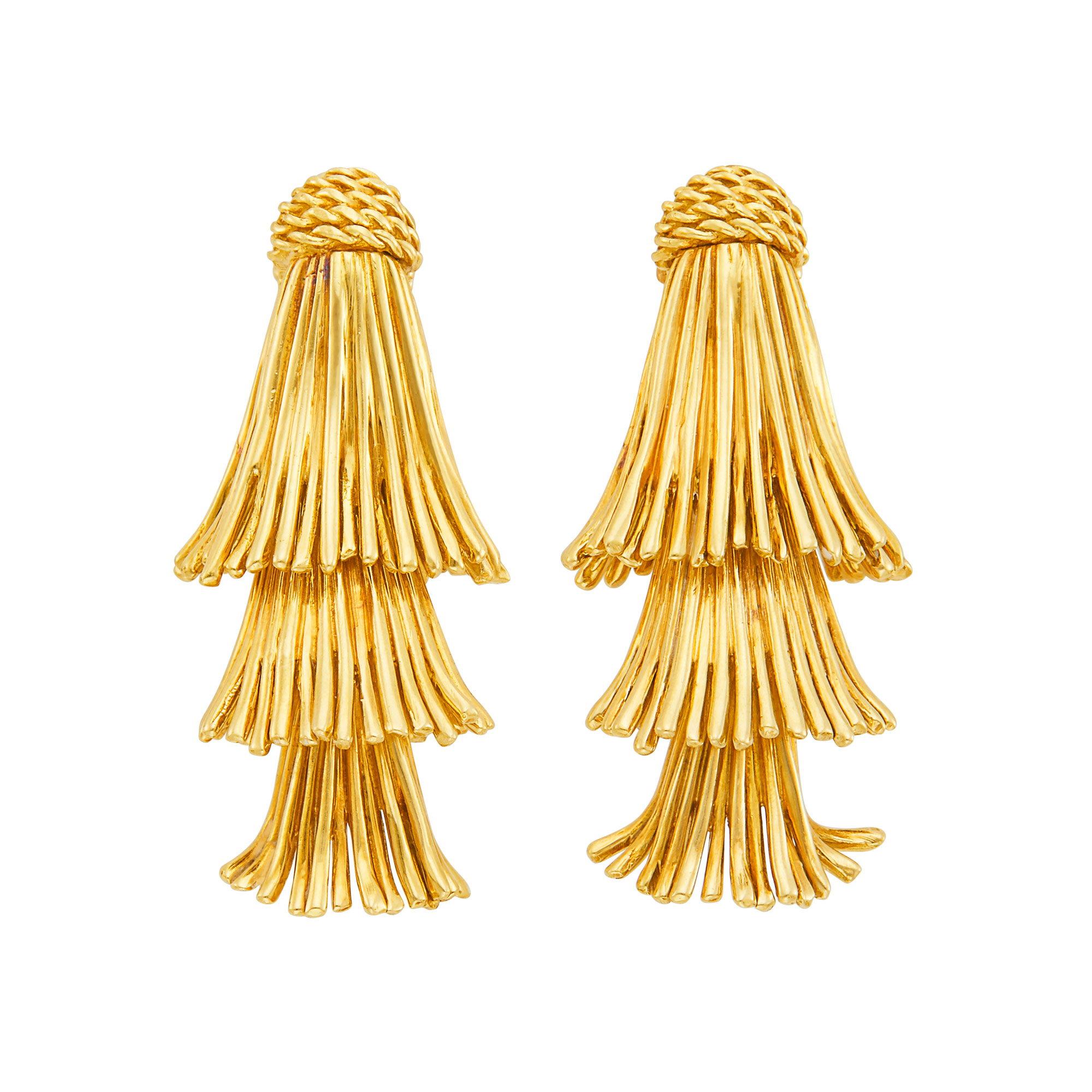 Lot image - Pair of Gold Fringe Earclips, Tiffany & Co.