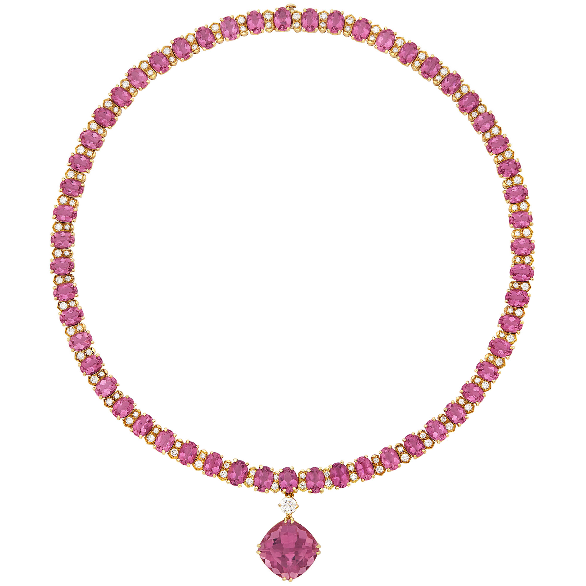 Lot image - Gold, Pink Tourmaline and Diamond Pendant-Necklace