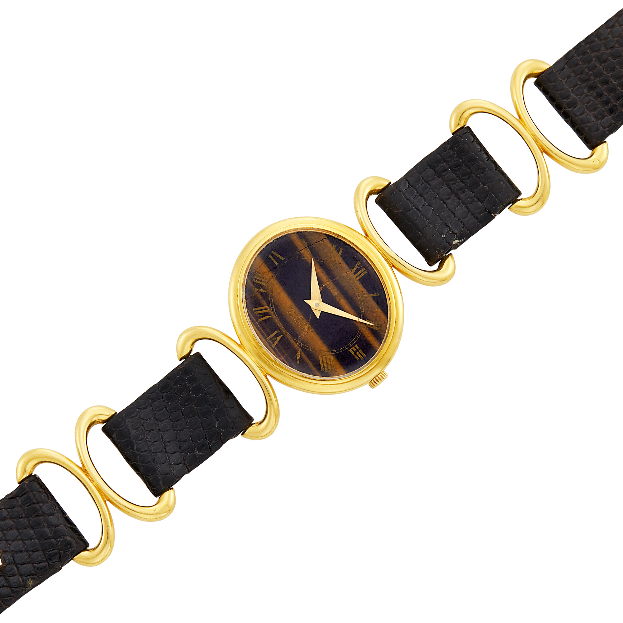 Lot image - Gold and Tigers Eye Wristwatch, Piaget, Retailed by Van Cleef & Arpels, France