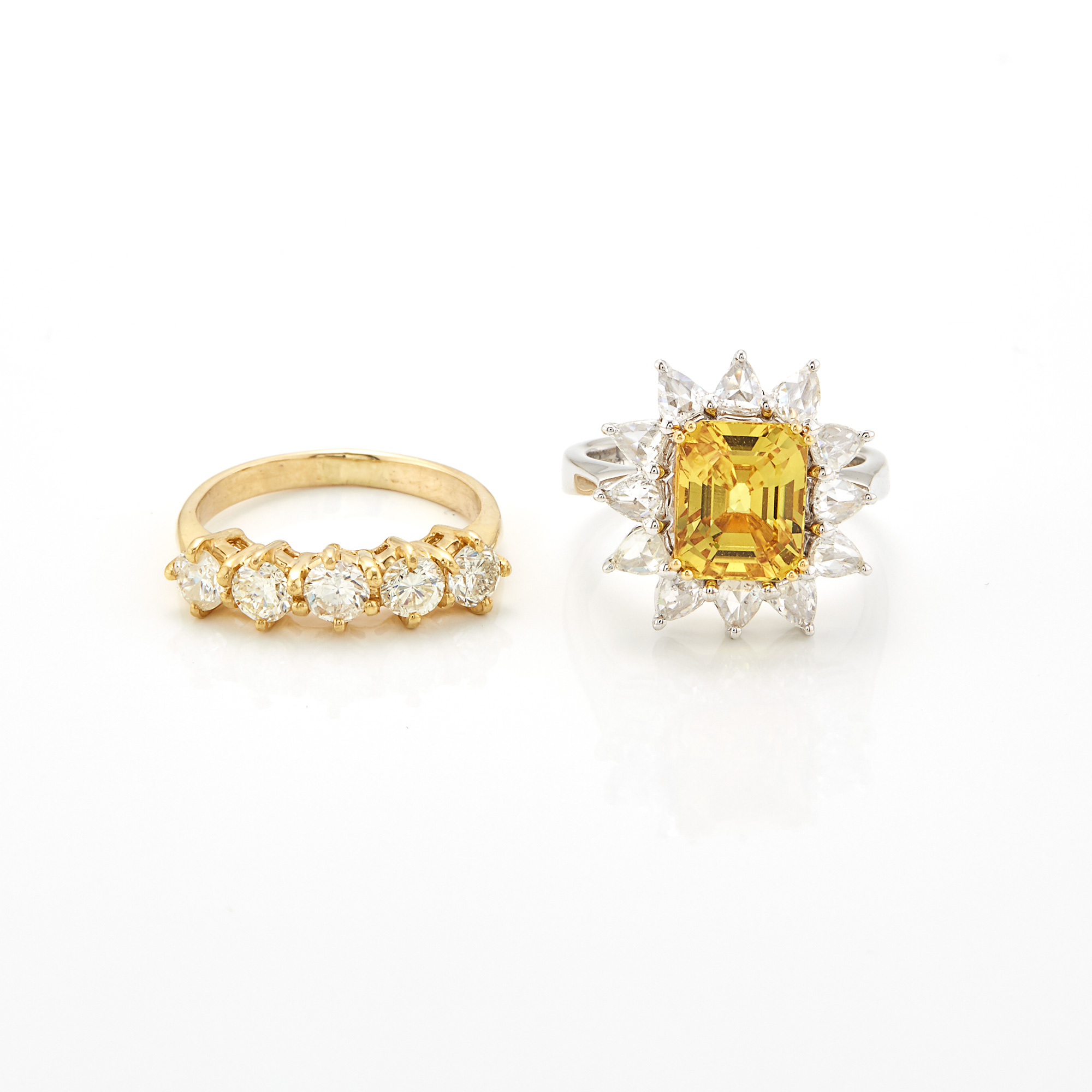 Lot image - Gold and Diamond Ring and White Gold, Synthetic Yellow Sapphire and Diamond Ring