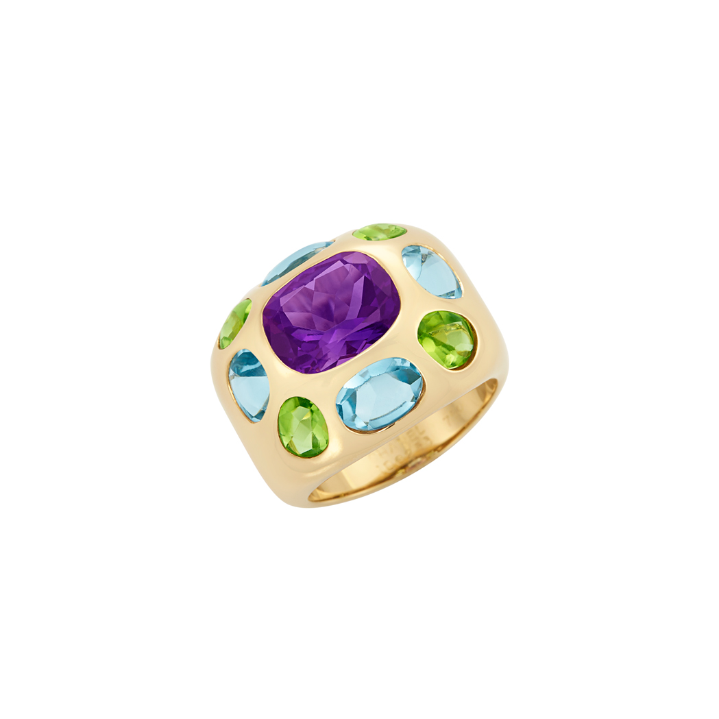 Lot image - Gold and Colored Stone Ring, Chanel, France