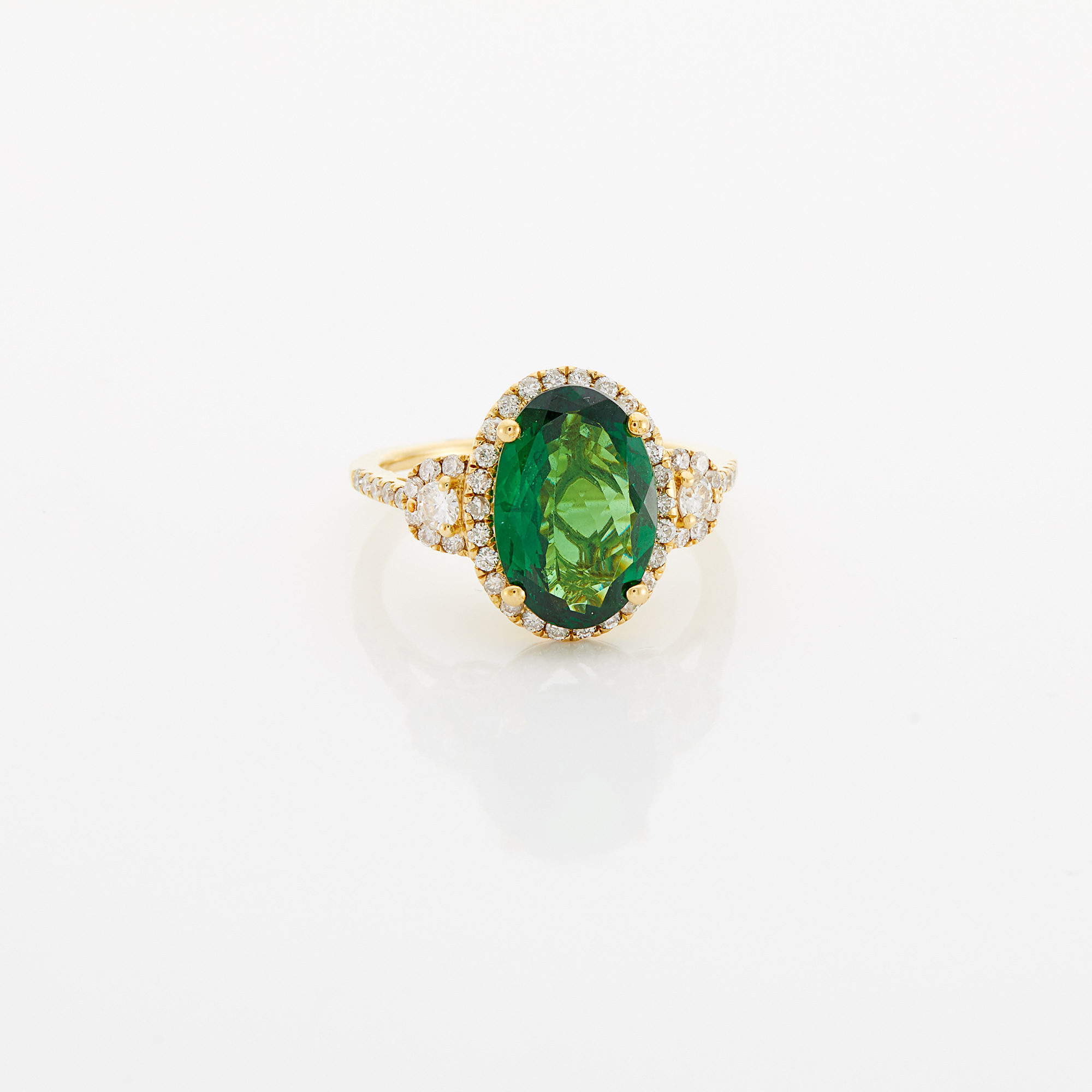 Lot image - Gold, Tsavorite Garnet and Diamond Ring