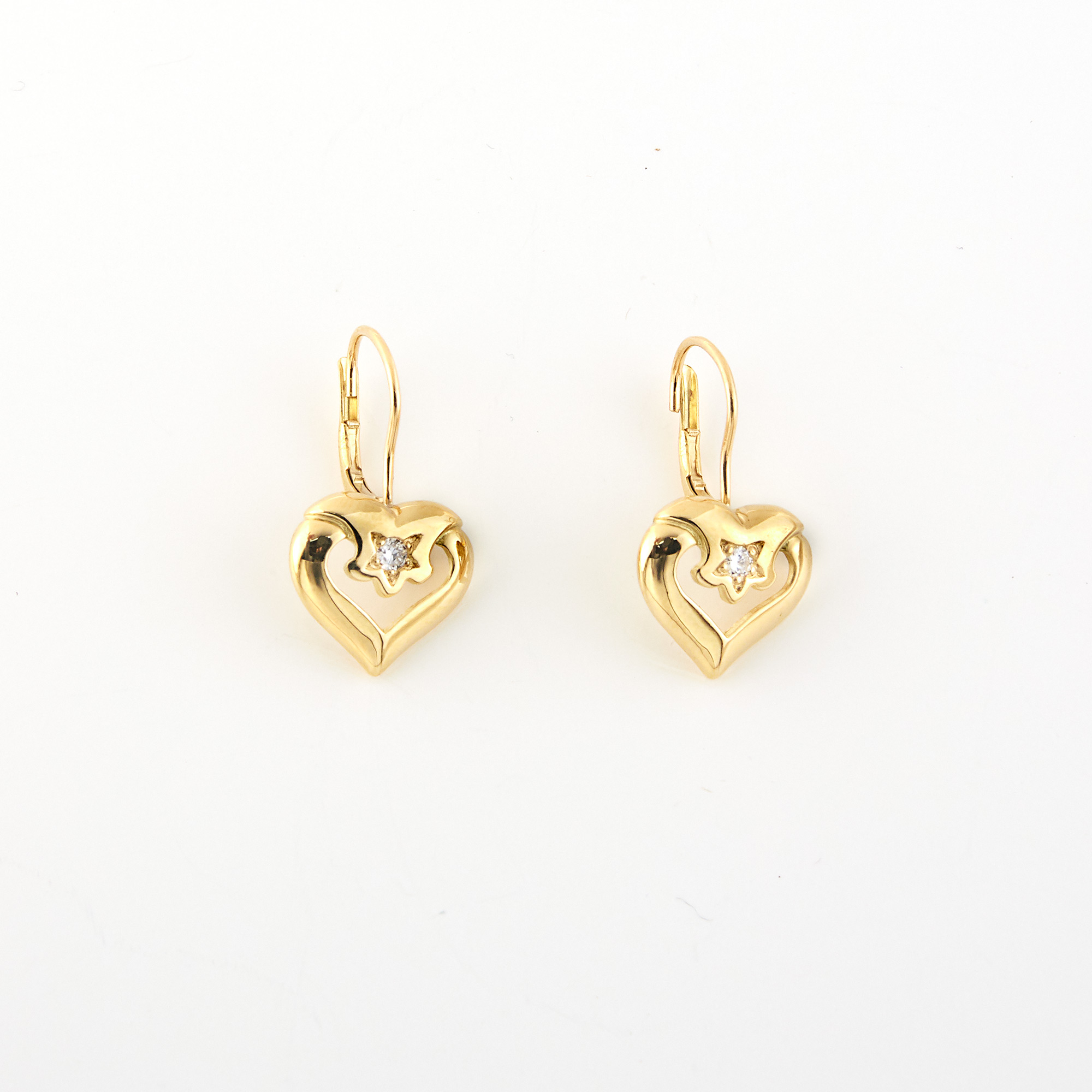 Lot image - Pair of Gold and Diamond Heart Earrings