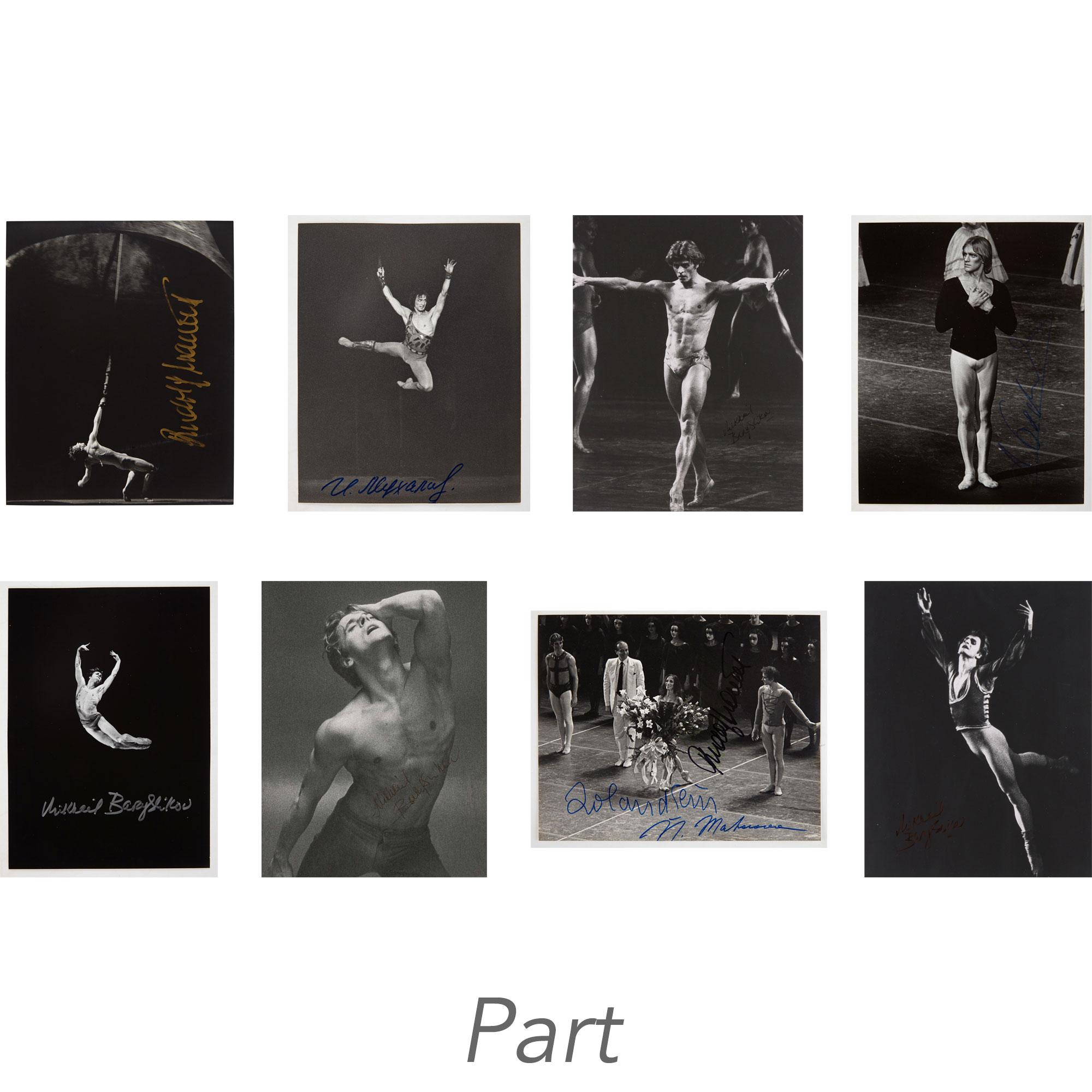 Lot image - [DANCE AUTOGRAPHS - RUDOLF NUREYEV, MIKHAIL BARYSHNIKOV, etc.]  A fine, large group of one hundred ten dance photos, including eighty eight signed images of the greatest male dancers of the 20th century