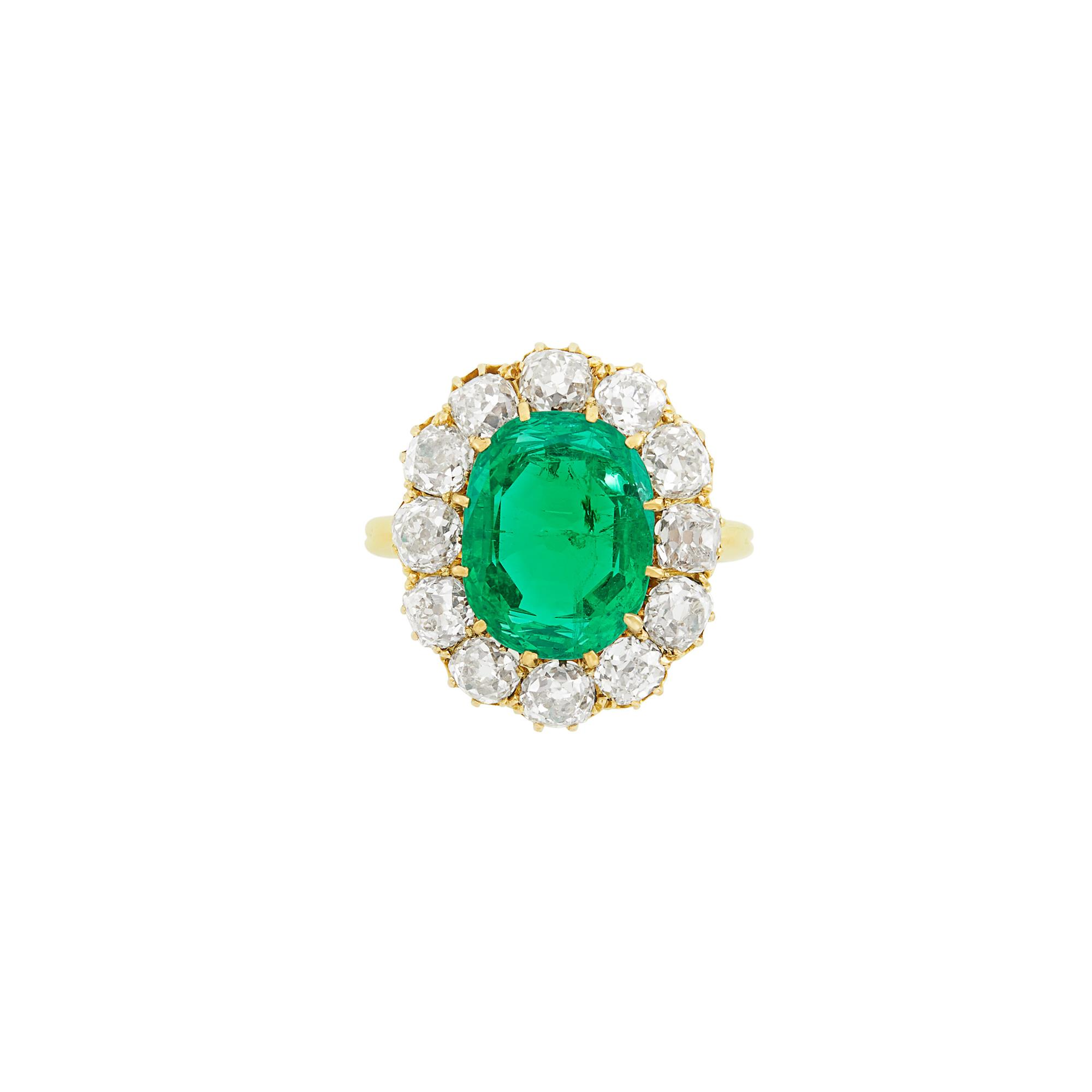 Lot image - Antique Gold, Emerald and Diamond Ring, Tiffany & Co.