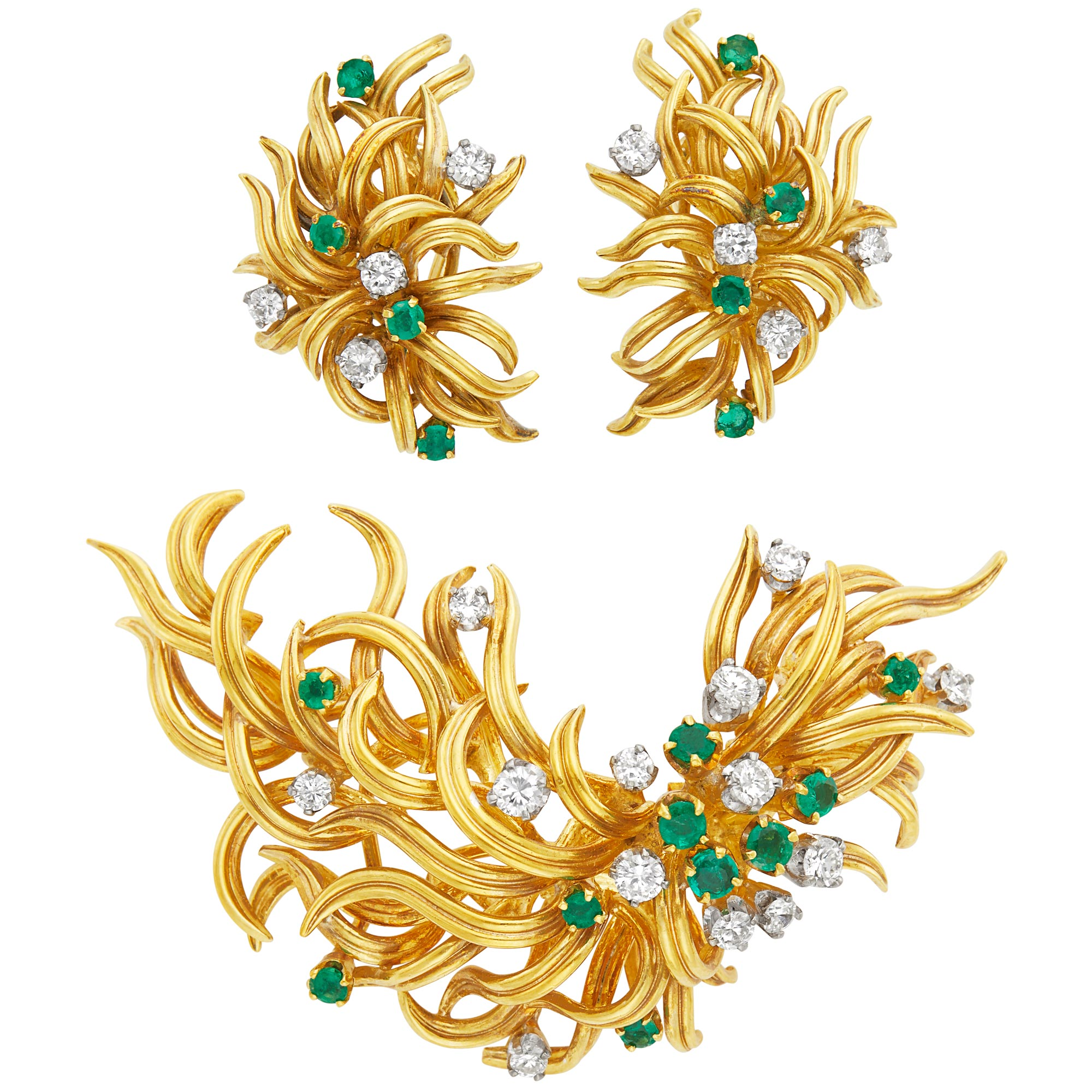 Lot image - Pair of Gold, Emerald and Diamond Earclips and Brooch