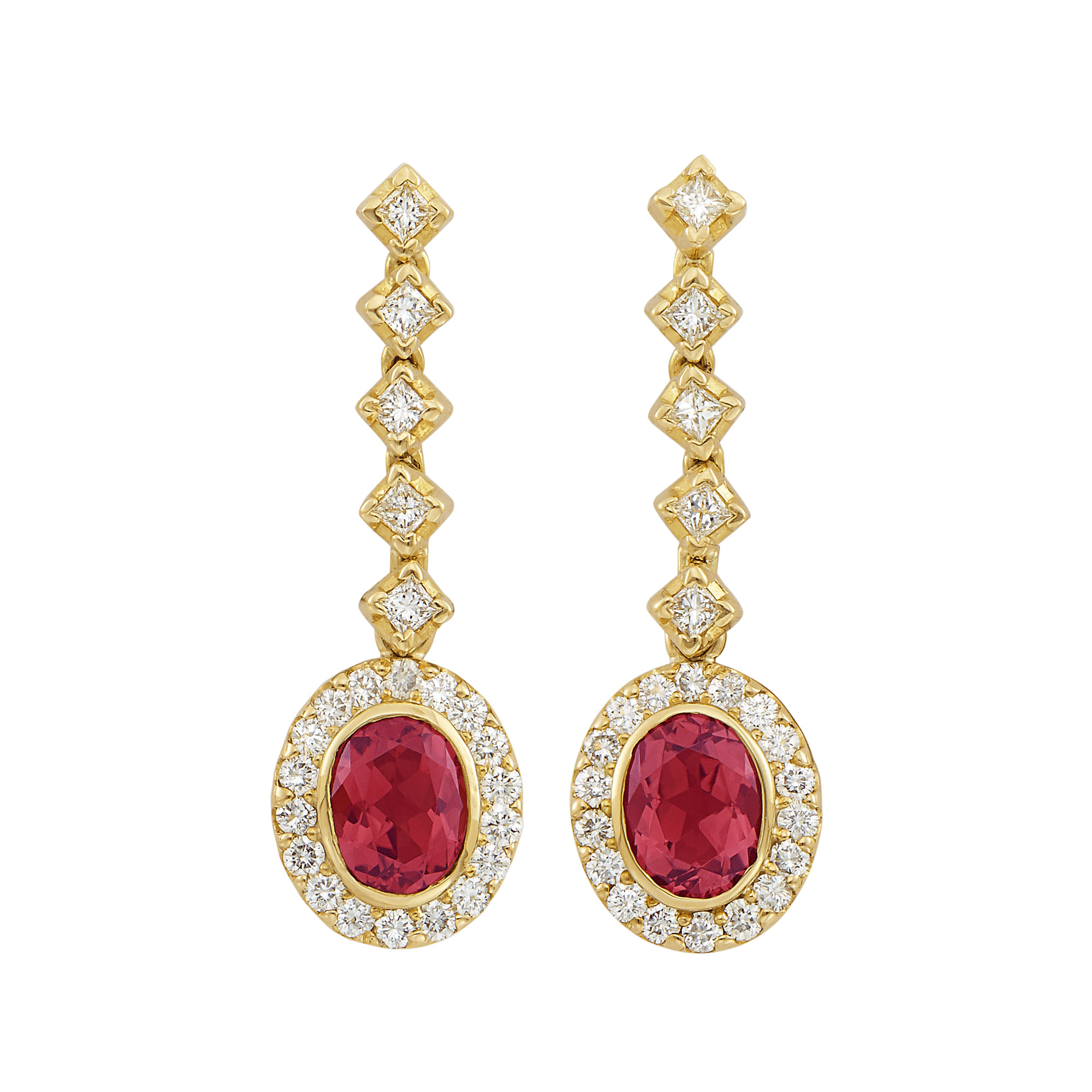 Lot image - Pair of Gold, Pink Tourmaline and Diamond Pendant-Earrings