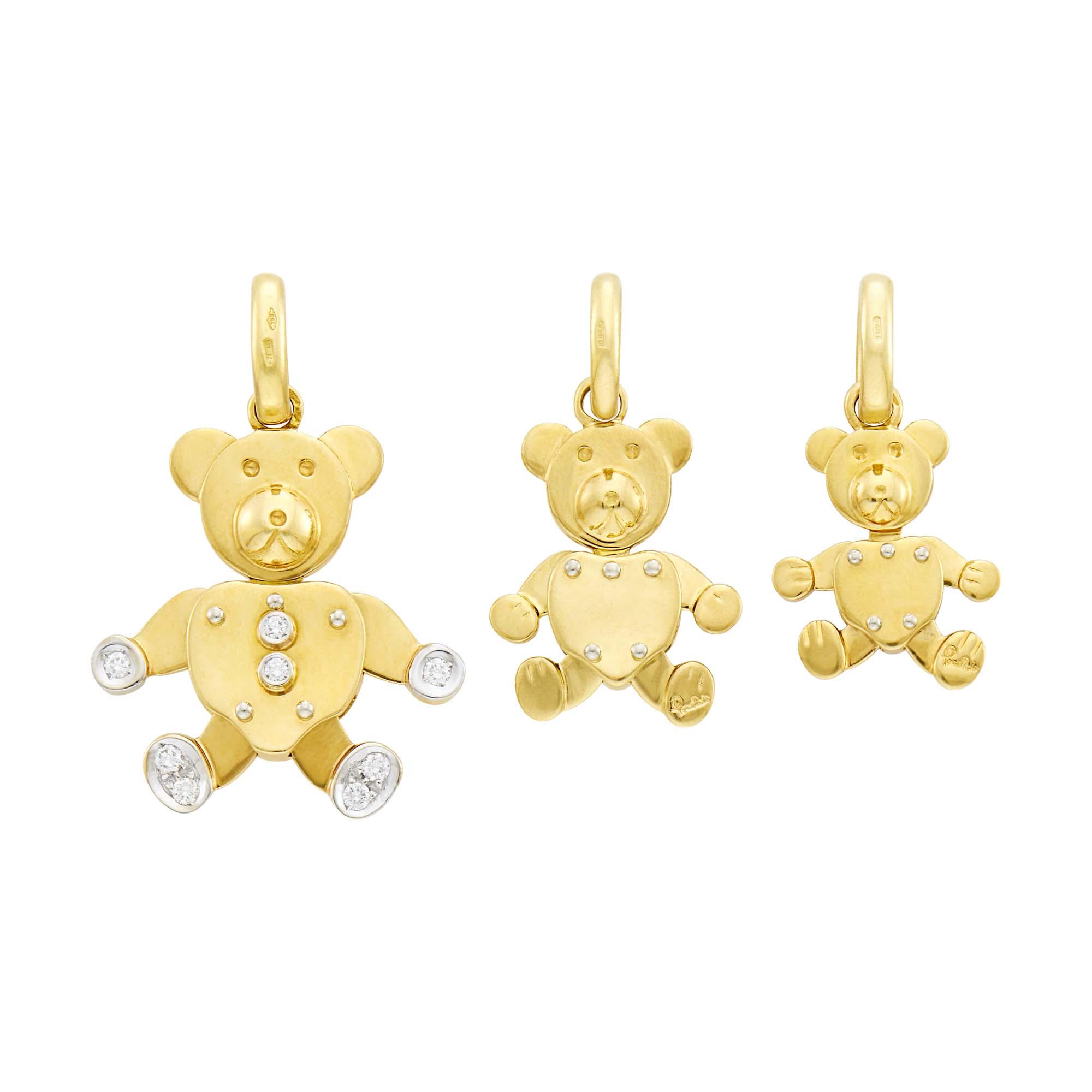 Lot image - Pomellato Three Gold and Diamond Teddy Bear Charms