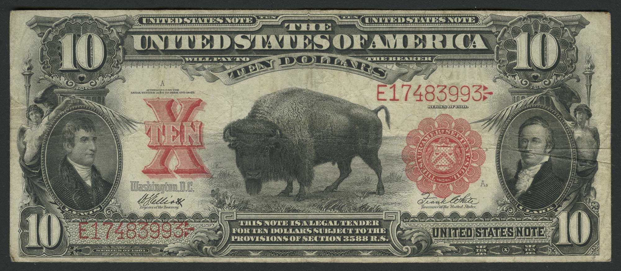 Lot image - United States $10 Legal Tender 1901 Buffalo, Fr. 121