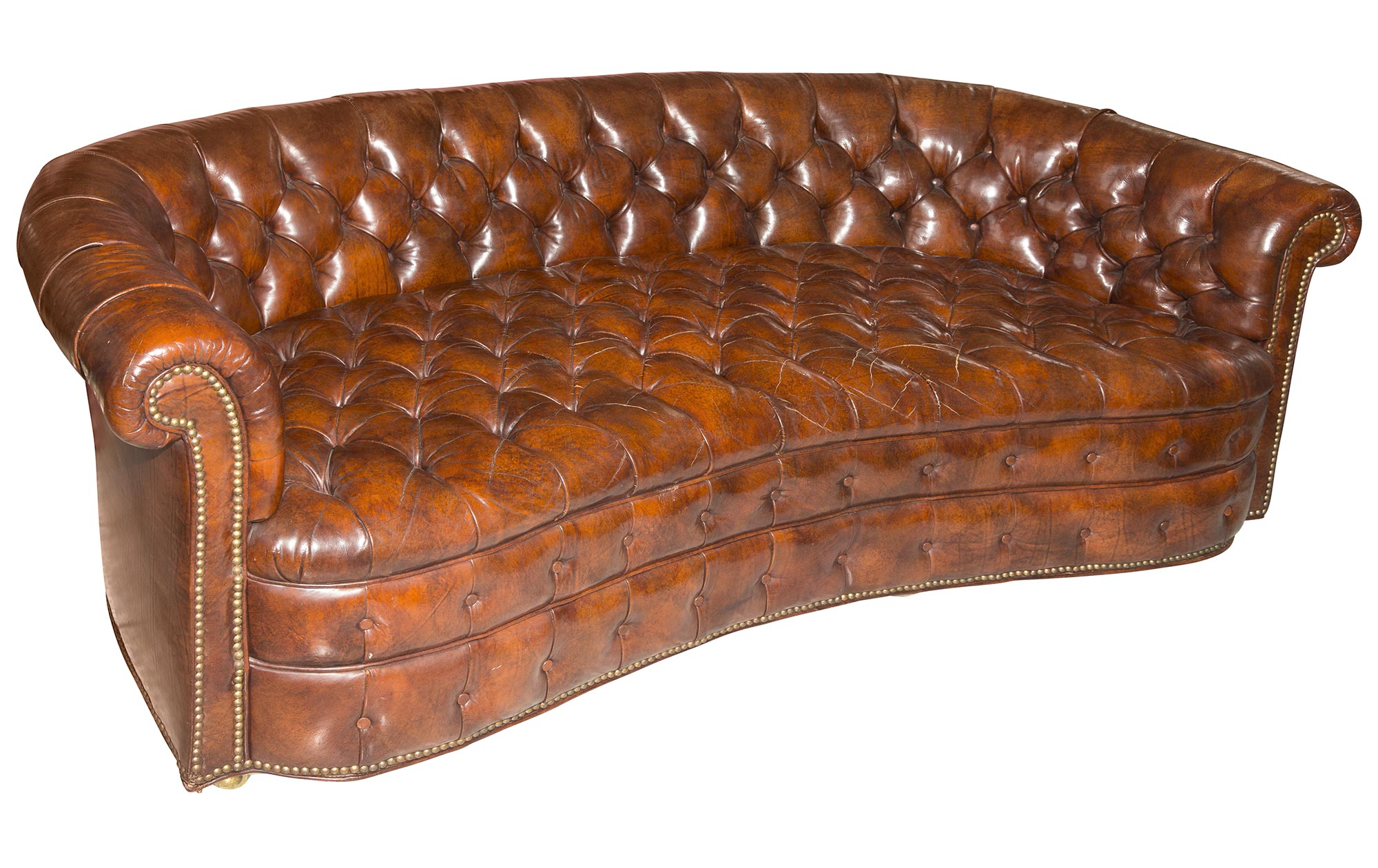 Lot image - Leather Curved Chesterfield Sofa