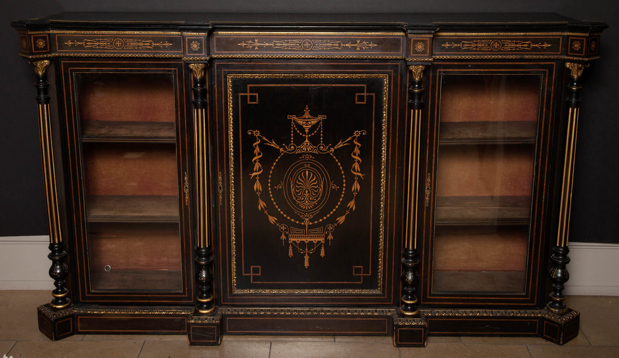 Lot image - Napoleon III Ebonized Wood, Marquetry and Brass-Mounted Bookcase Cabinet