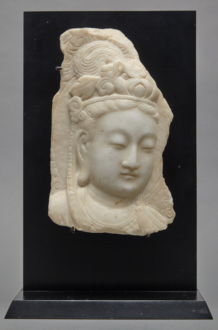 Lot image - Chinese White Marble Head of Guanyin