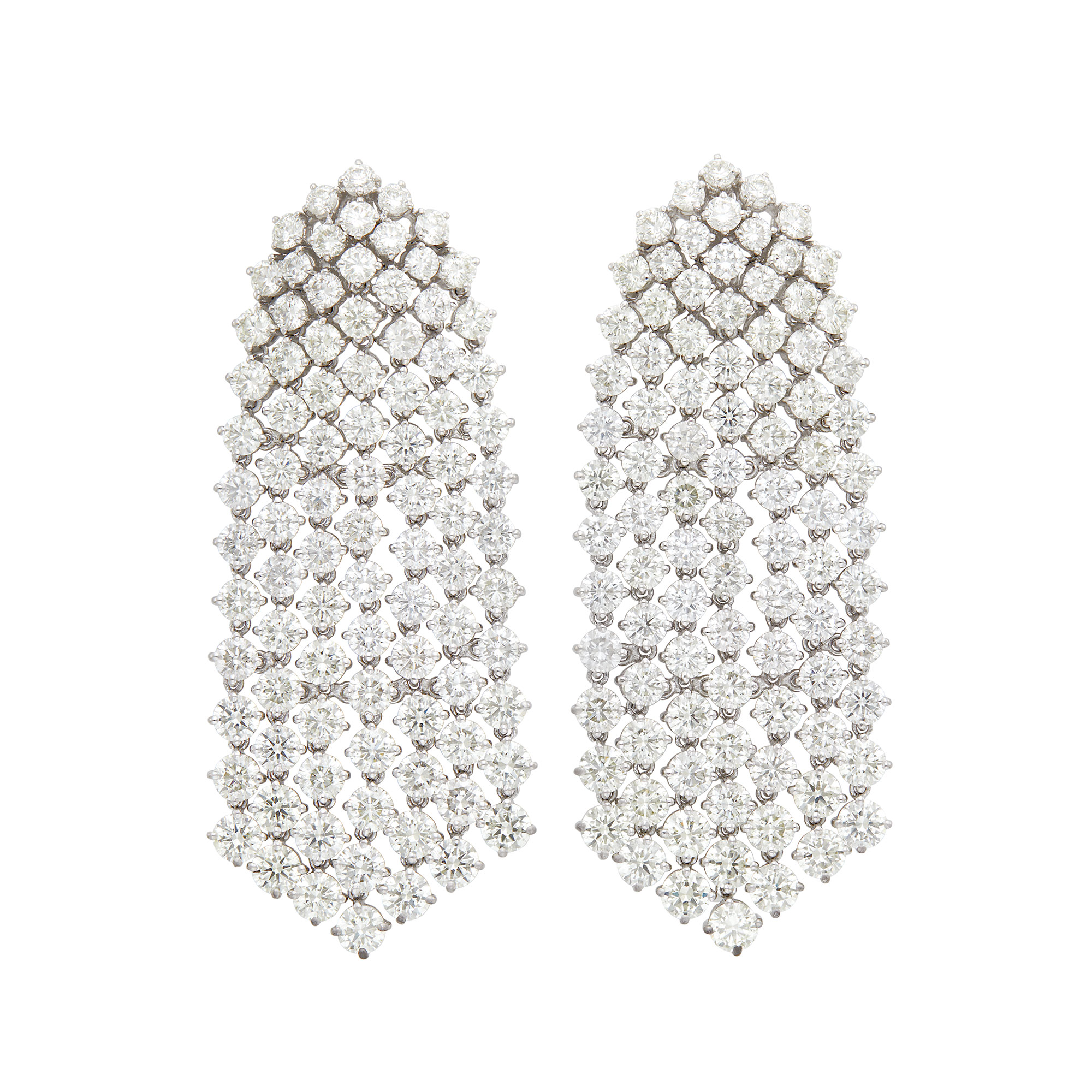 Lot image - Pair of White Gold and Diamond Fringe Earrings