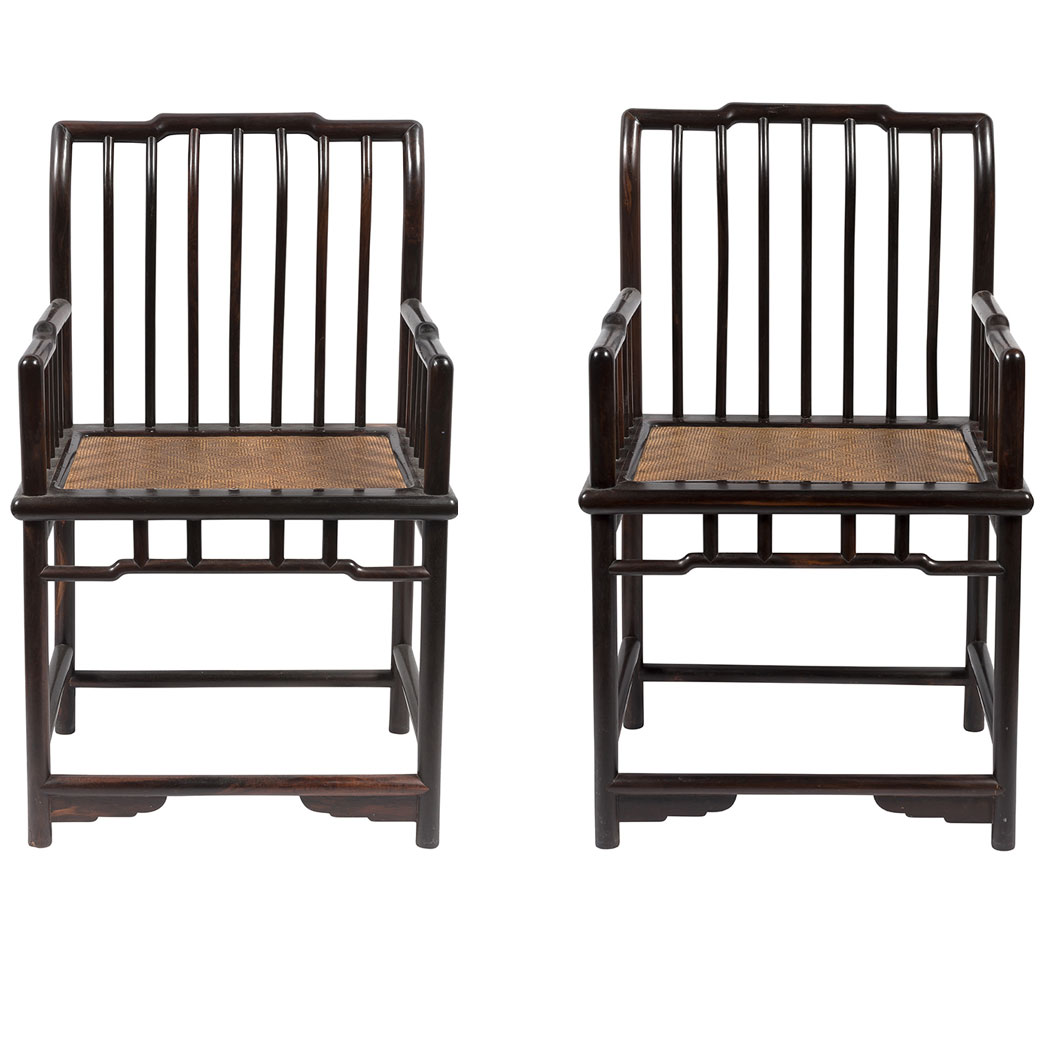 Lot image - Pair of Chinese Hongmu Spindleback Armchairs