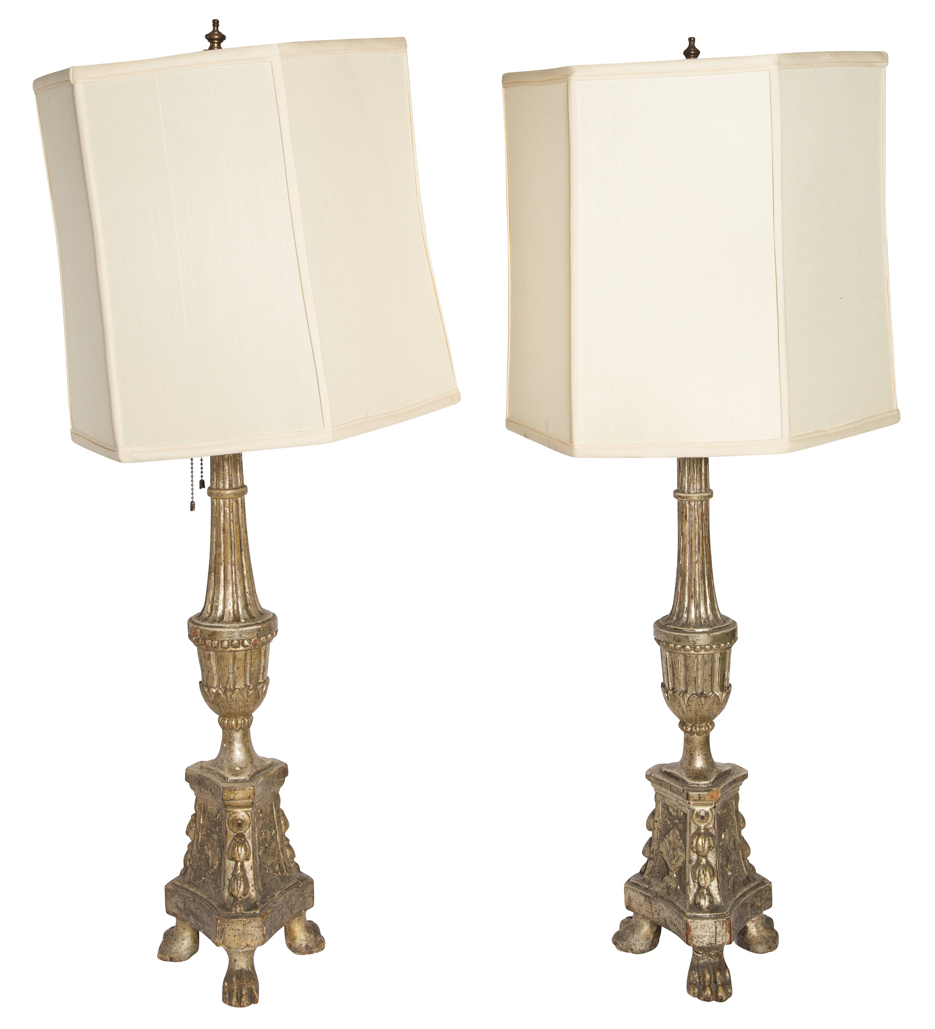 Lot image - Pair of Italian Neoclassical Silver Leafed Wood Lamps