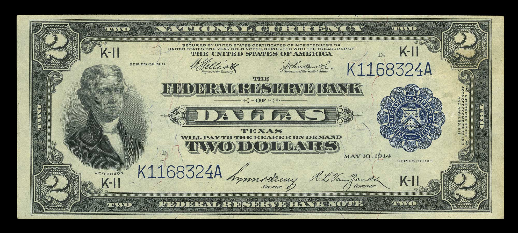 Lot image - United States 1918 $2 Federal Reserve Bank Note, Fr. 777